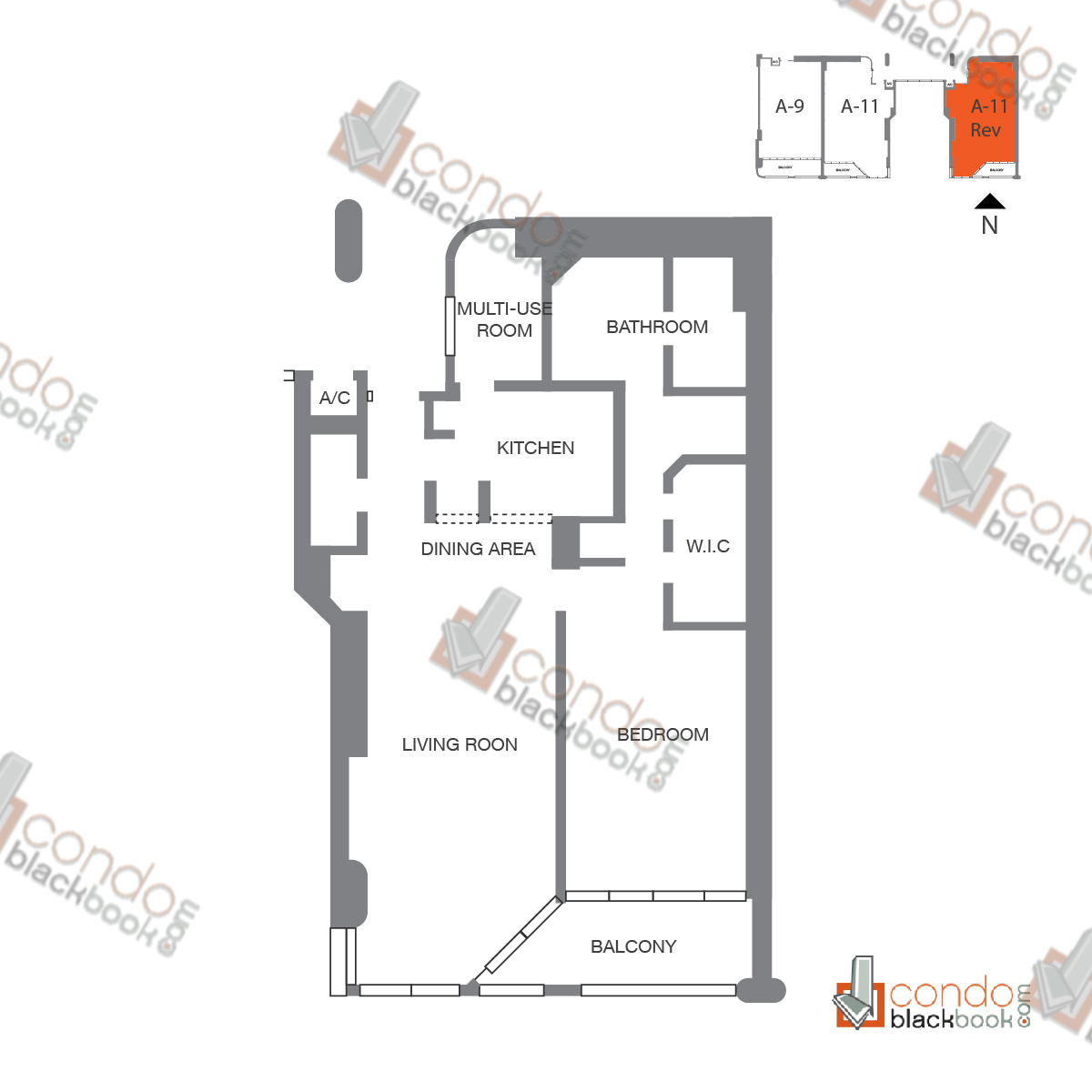 Floor plan for The Grand Arts & Entertainment District Miami, model Unit 46 (11-30), line A-1146 to A-1546, A-2346 to A-3046, 1/1.5 bedrooms, 1,138 sq ft