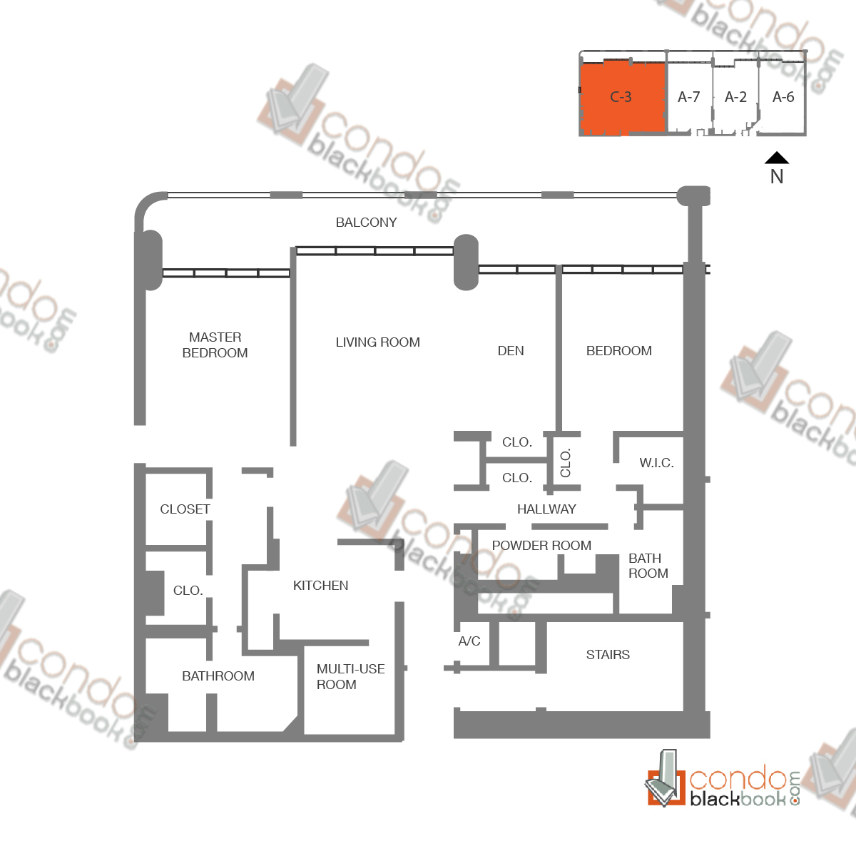 Floor plan for The Grand Arts & Entertainment District Miami, model Unit 51, line A-1051 to A-4251, B-4151, C-4051, D-3951, 3/3 bedrooms, 1840 sq ft