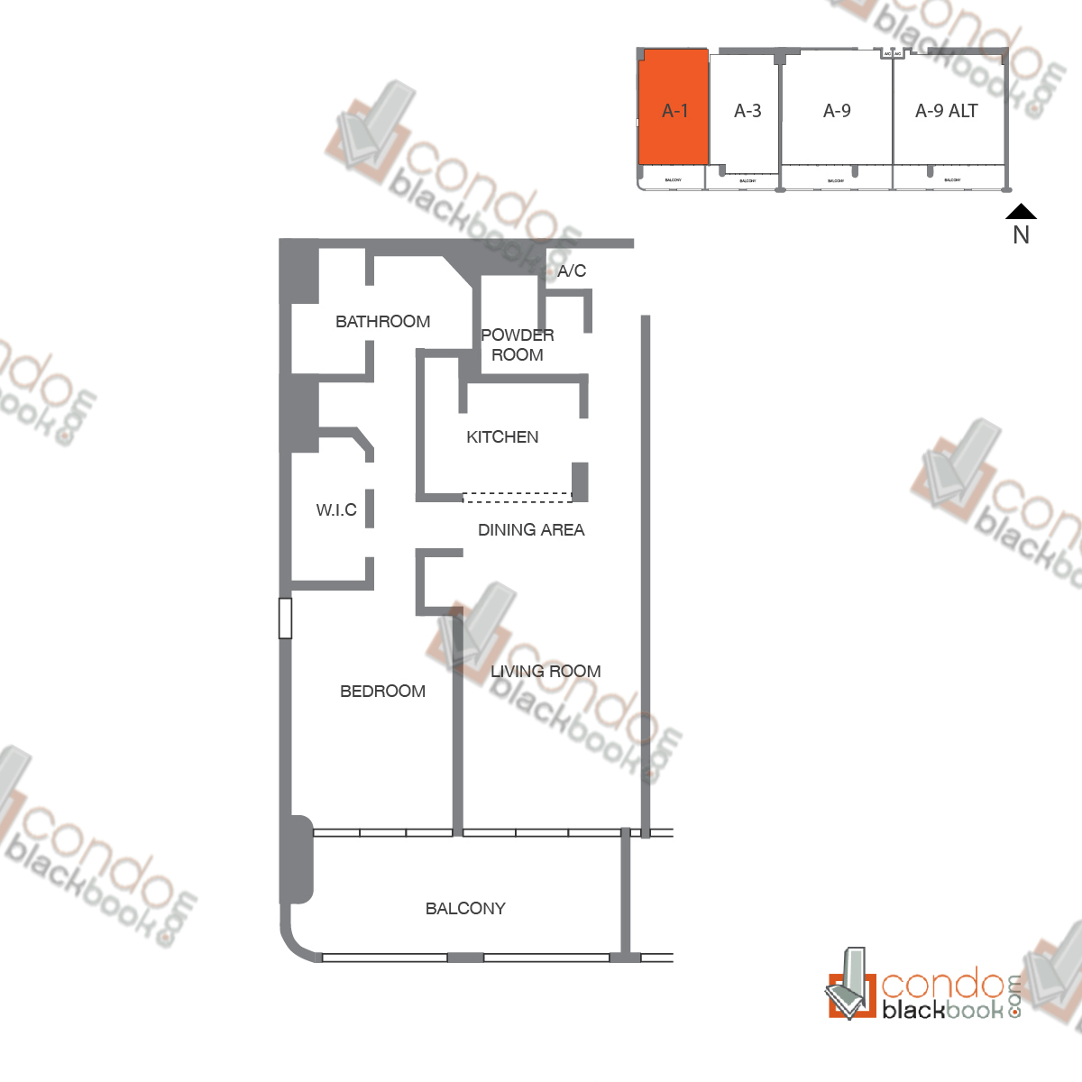 Floor plan for The Grand Arts & Entertainment District Miami, model Unit 52, line A-1052 to A-4252, B-4152, C-4052, D-3952, 1/1.5 bedrooms, 985 sq ft