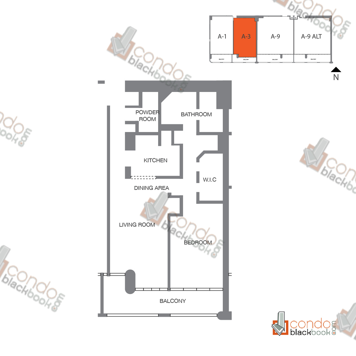 Floor plan for The Grand Arts & Entertainment District Miami, model Unit 53, 57, line A-1053 to A-4253, B-4153, D-3953, A-1057, 1/1.5 bedrooms, 997 sq ft