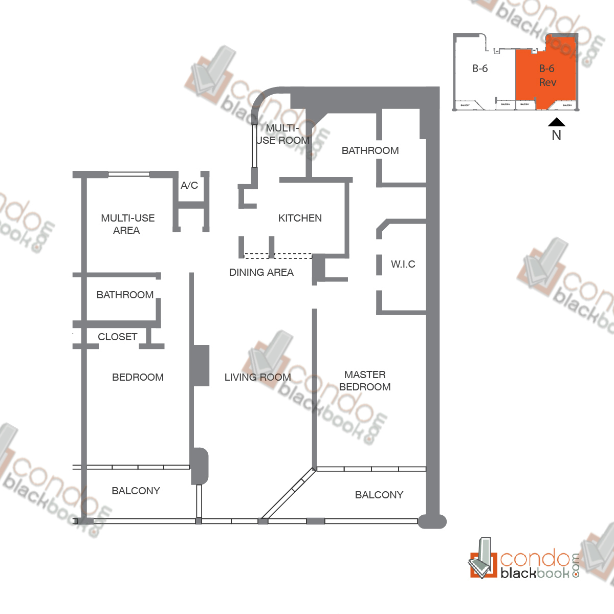 Floor plan for The Grand Arts & Entertainment District Miami, model Unit 55, line A-1055 to A-4255,  B-4155, D-3955, 2/2 bedrooms, 1,509 sq ft
