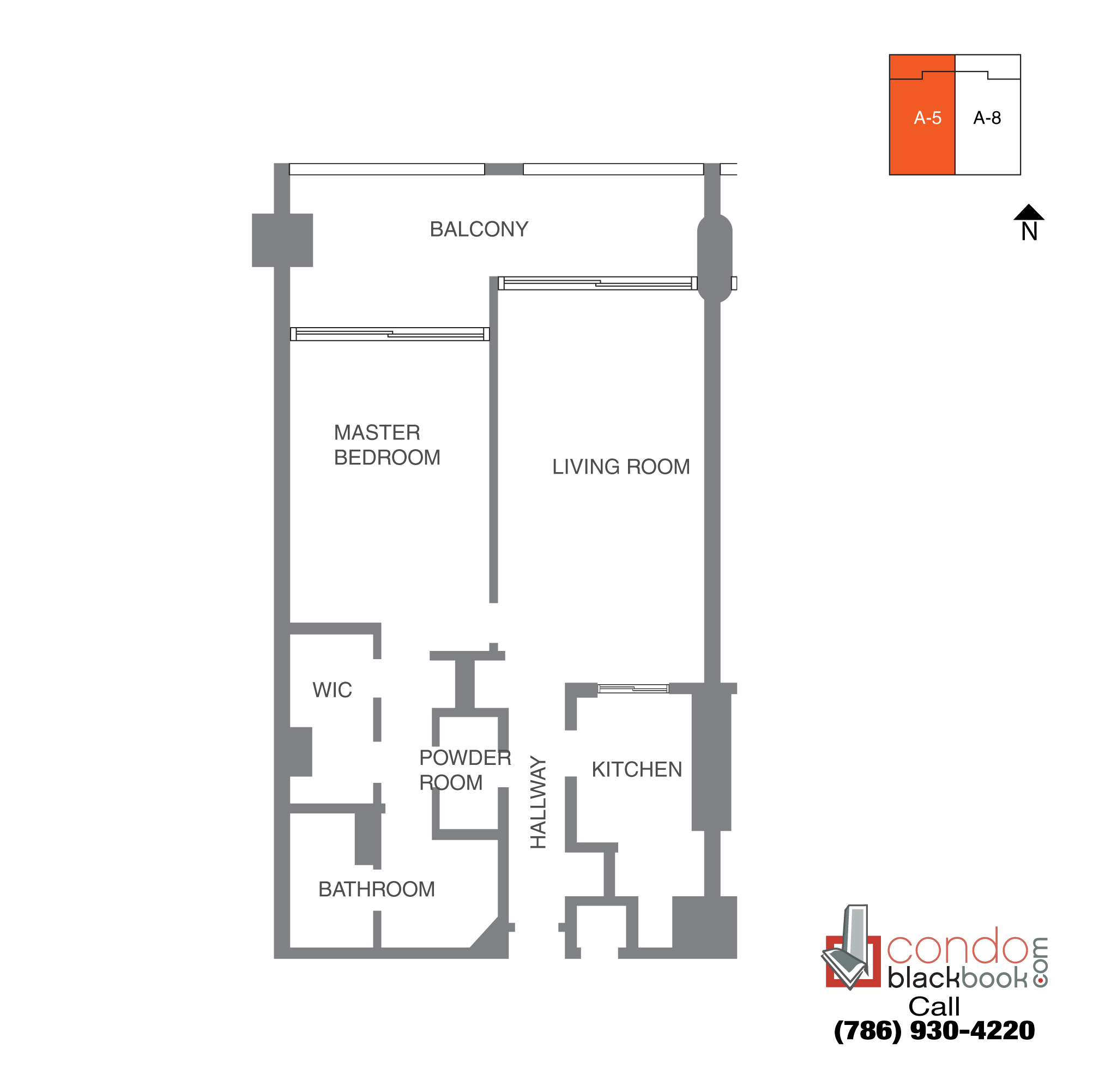 Floor plan for The Grand Arts & Entertainment District Miami, model Unit 38, line A-1038 to A-4238,  B-4138, C-4038, D-3938, 1/1.5 bedrooms, 1,066 sq ft
