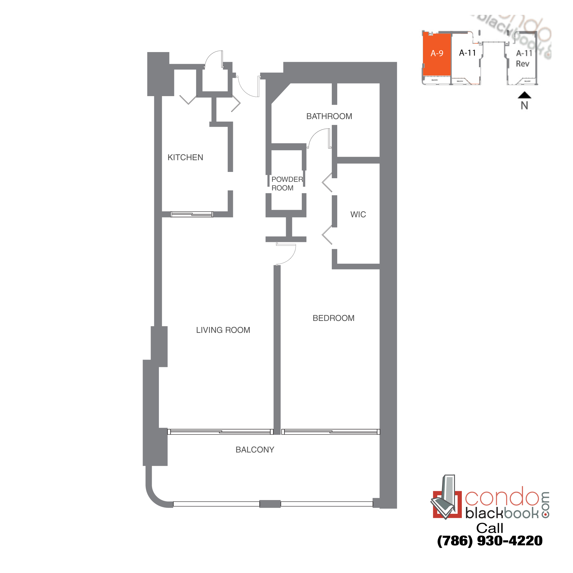 Floor plan for The Grand Arts & Entertainment District Miami, model Unit 44, line A-1044 to A-4244,  B-4144, C-4044, D-3944, 1/1.5 bedrooms, 1,067 sq ft