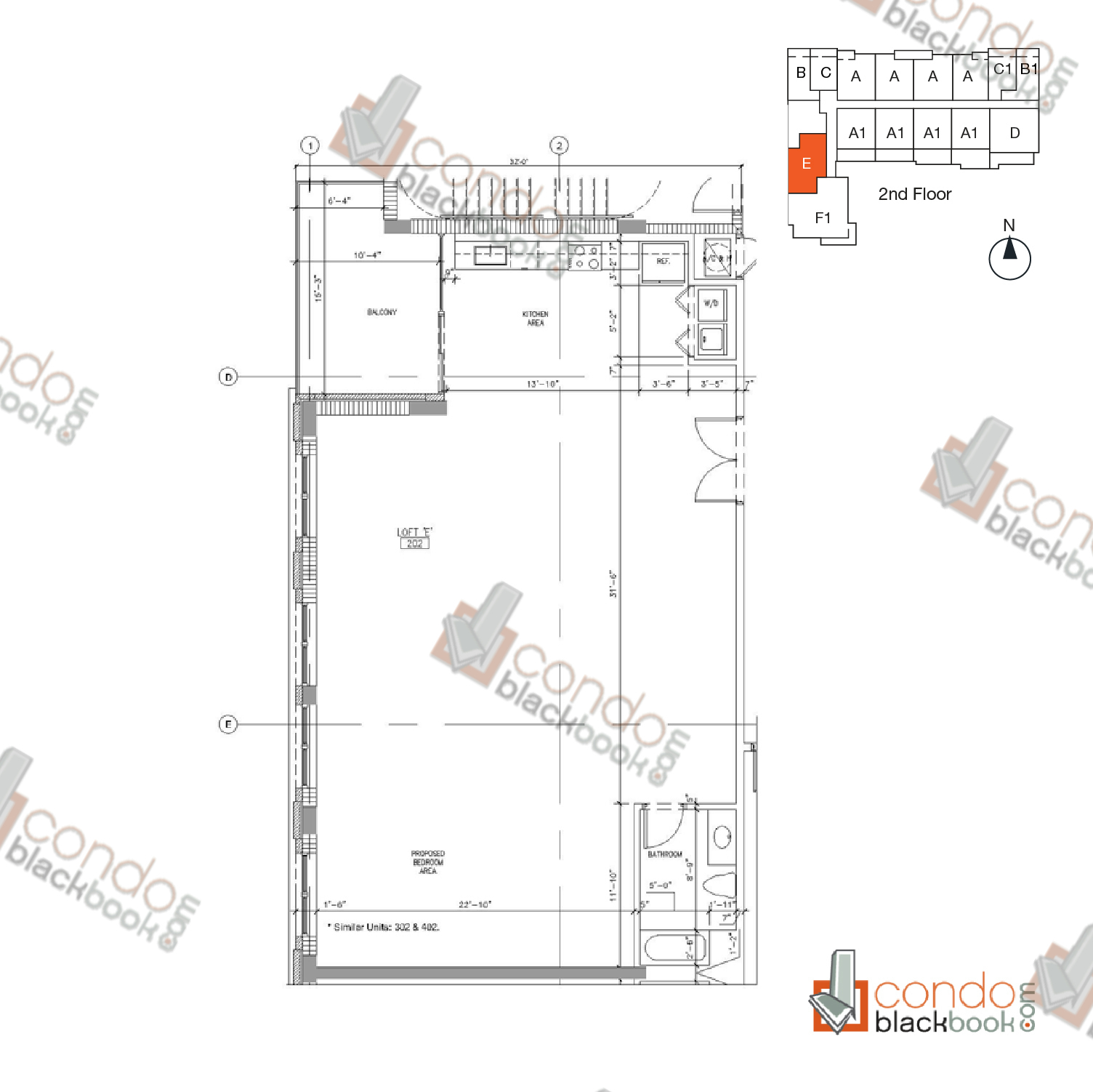 Floor plan for Parc Lofts Arts & Entertainment District Miami, model Loft E & F, line 201, 202, 2/1 bedrooms, 1.605 sq ft