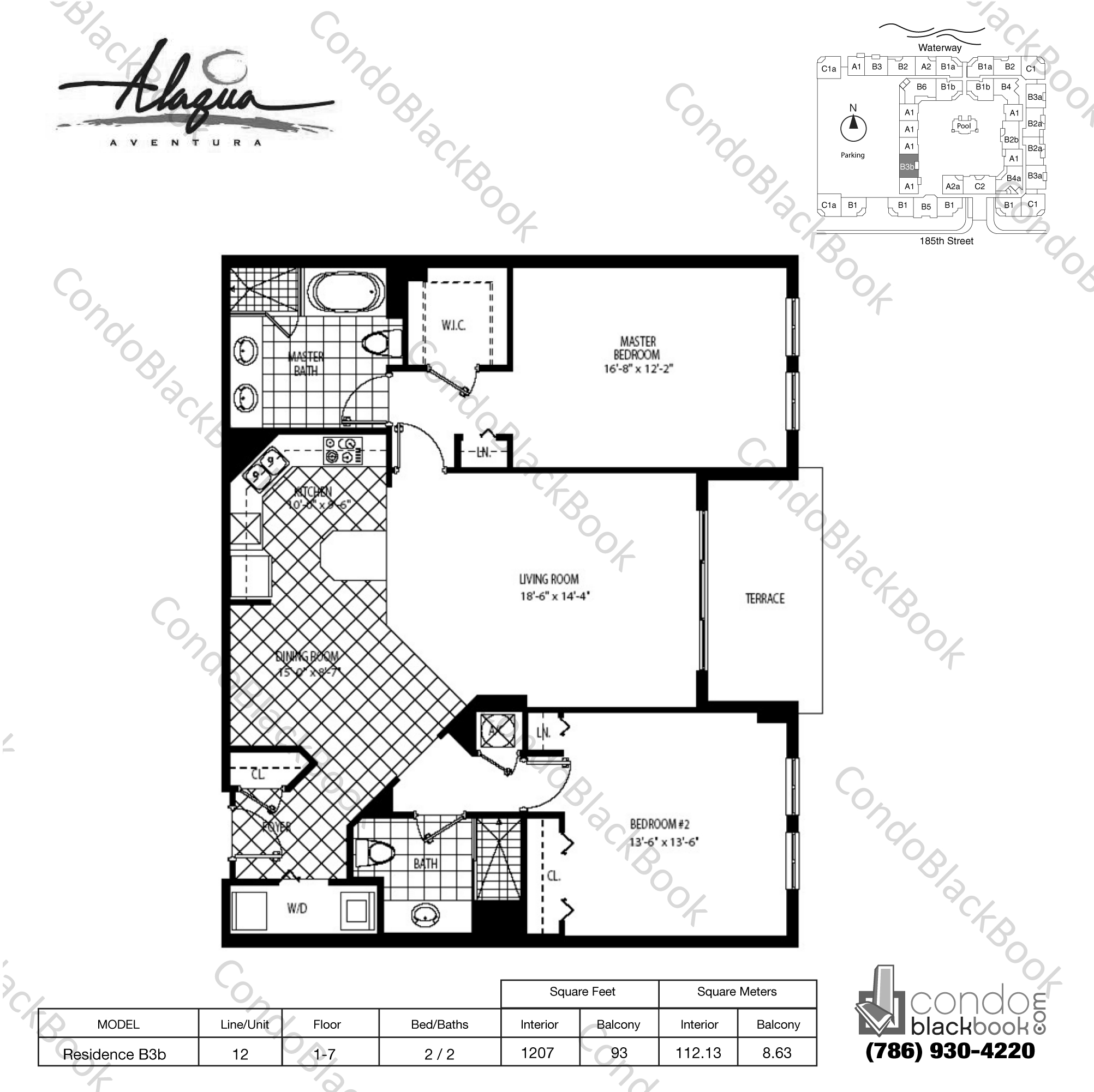 Floor plan for Alaqua Aventura, model Residence B3b, line 12, 2 / 2 bedrooms, 1207 sq ft