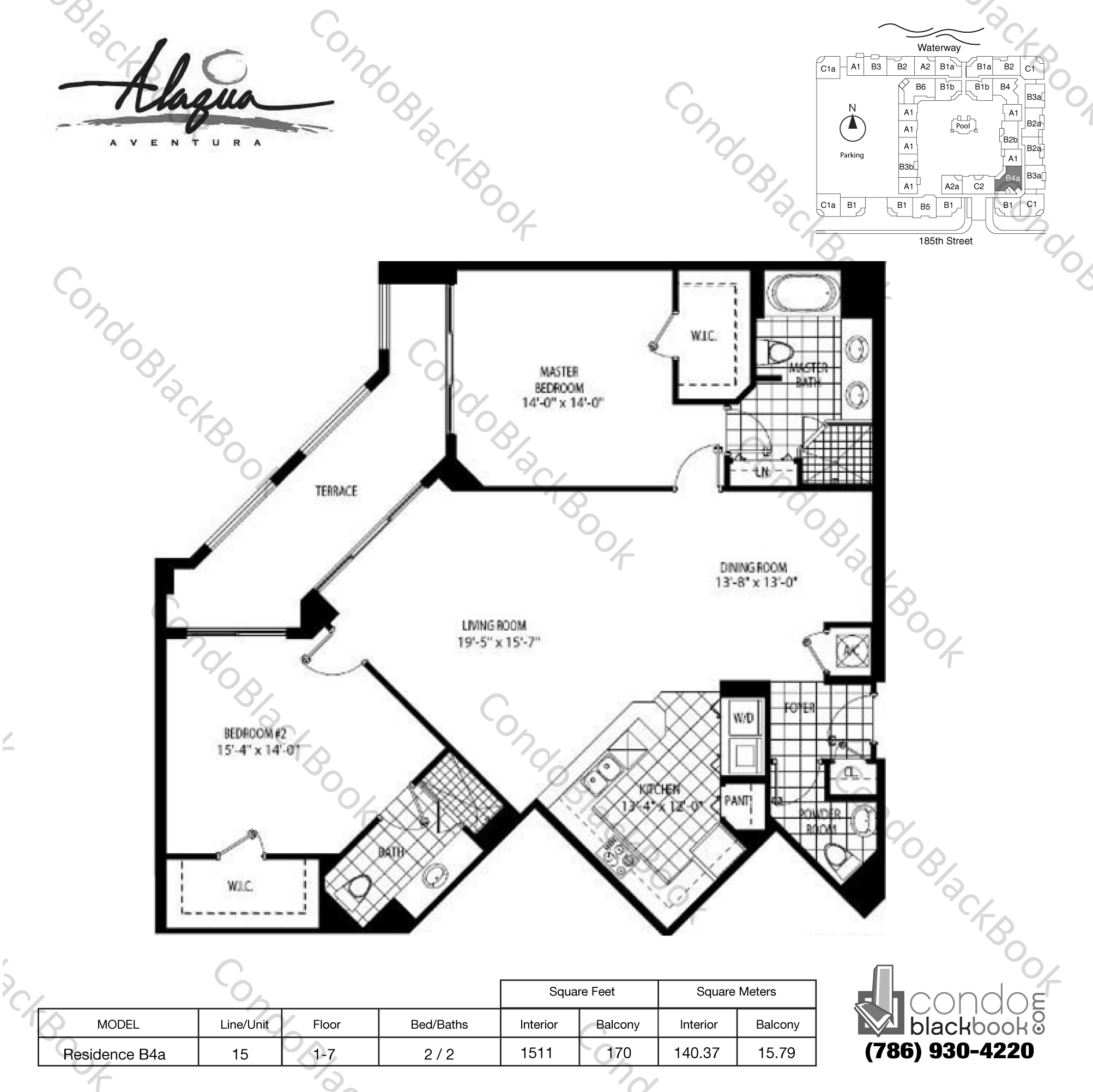 Floor plan for Alaqua Aventura, model Residence B4a, line 15, 2 / 2 bedrooms, 1511 sq ft