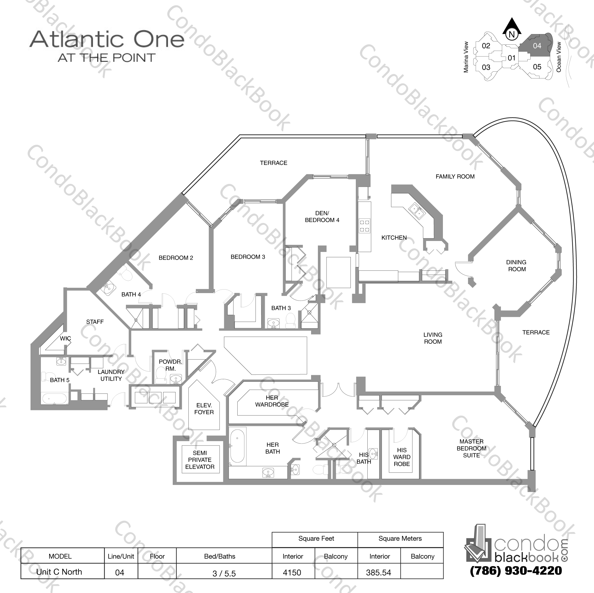 Floor plan for Atlantic I at the Point Aventura, model Unit C North, line 04, 3 / 5.5 bedrooms, 4150 sq ft