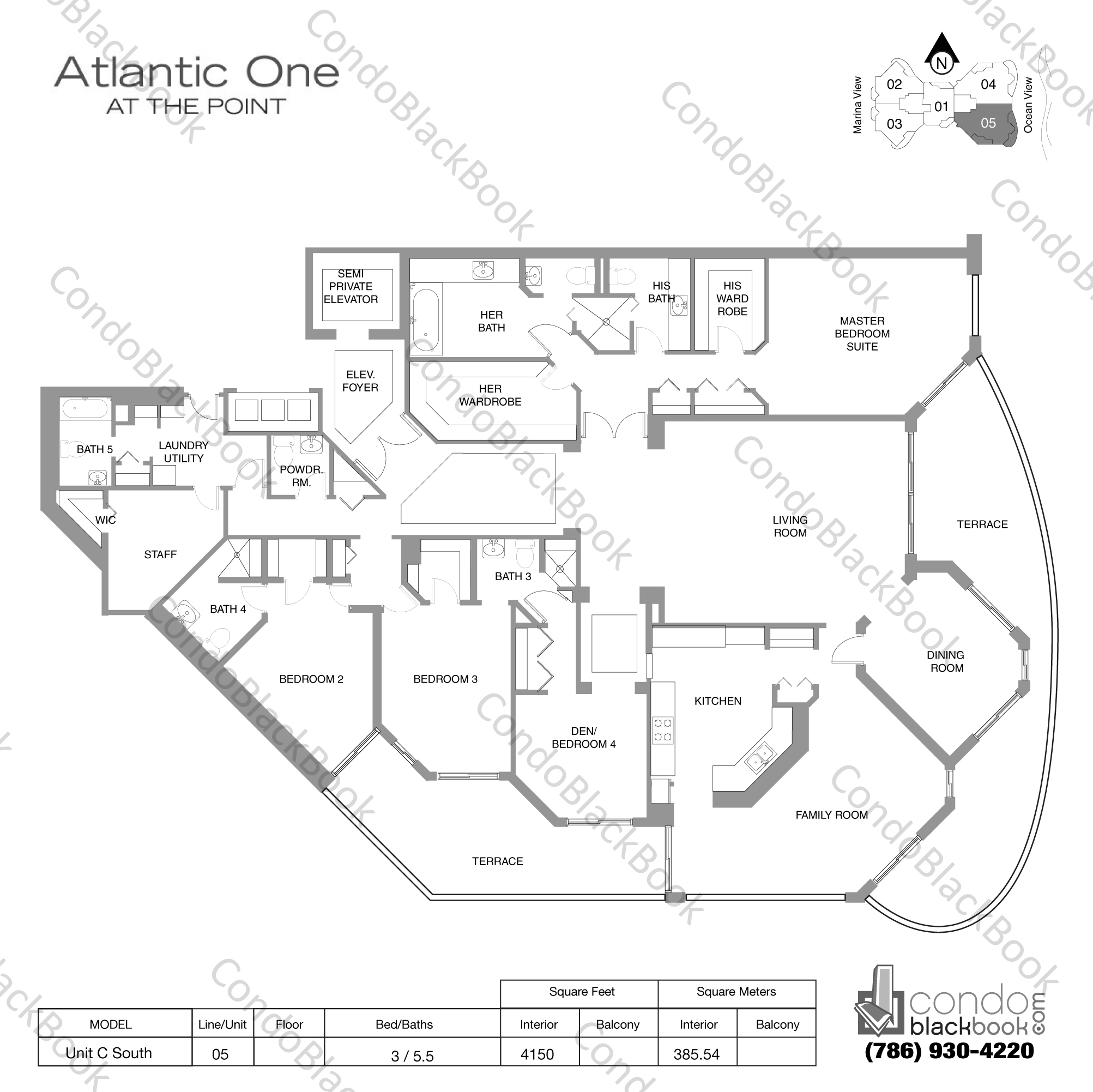 Floor plan for Atlantic I at the Point Aventura, model Unit C South, line 05, 3 / 5.5 bedrooms, 4150 sq ft