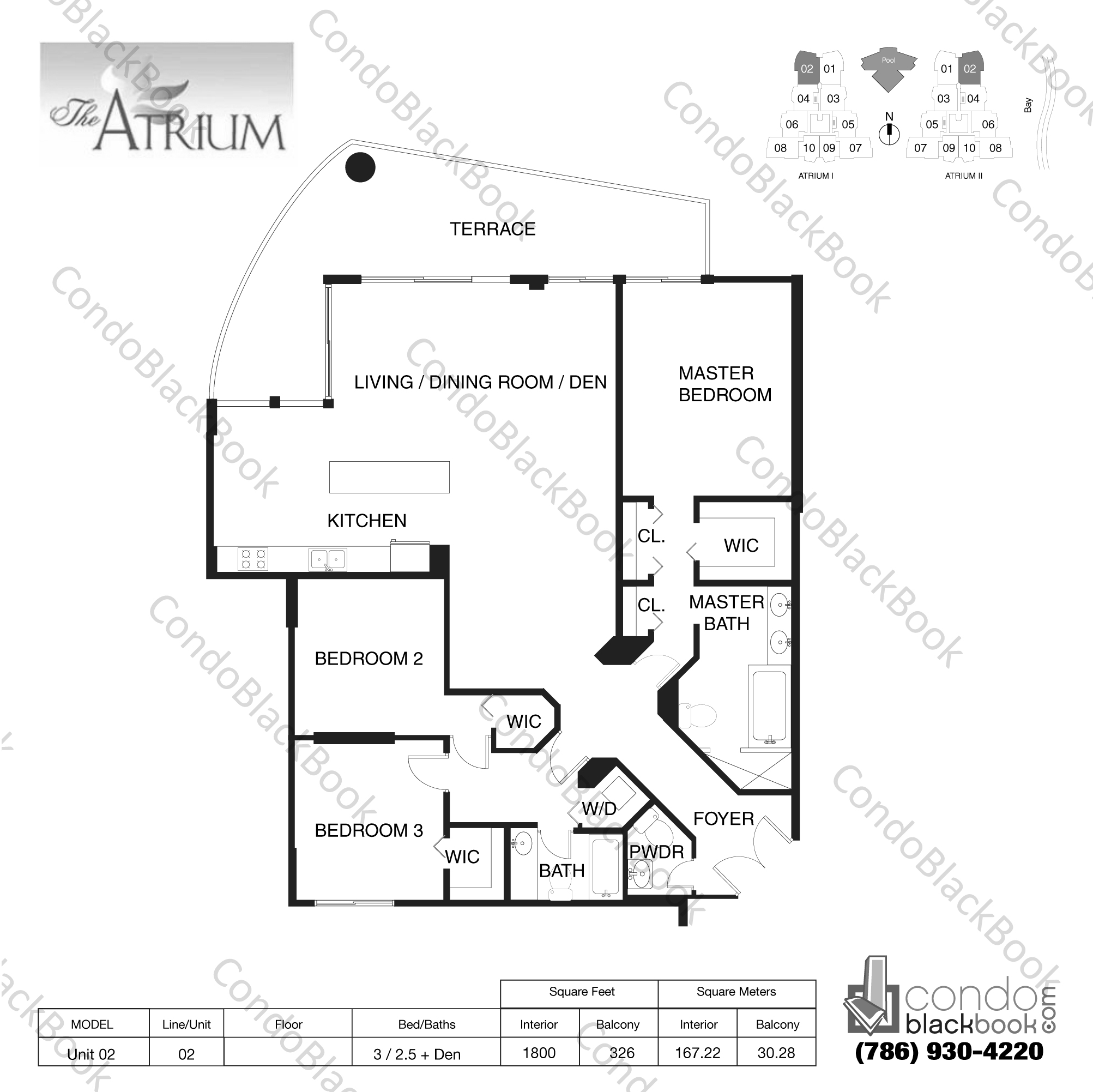 Floor plan for Atrium Aventura, model Unit 02, line 02, 3 / 2 .5 + Den bedrooms, 1800 sq ft