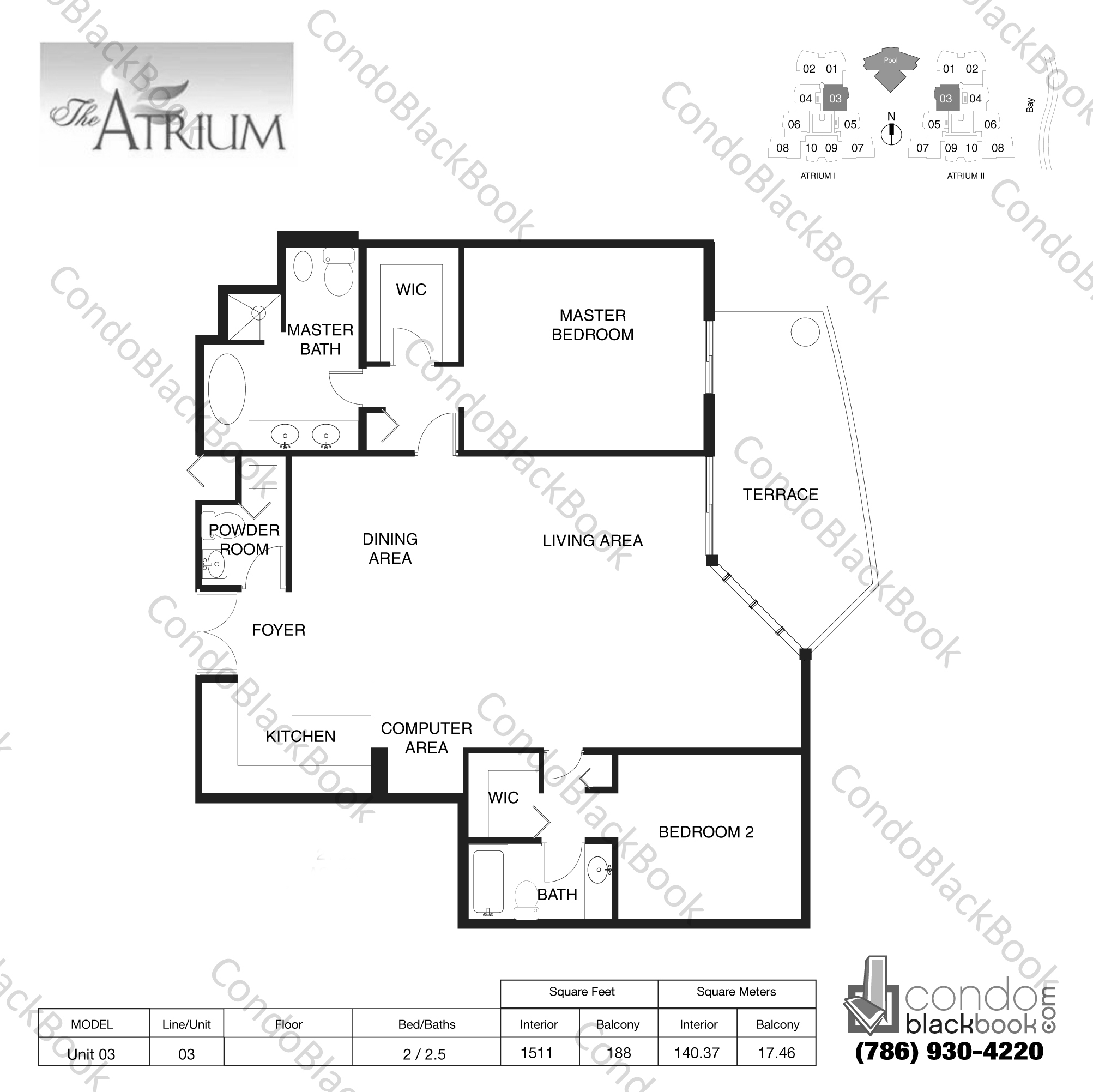 Floor plan for Atrium Aventura, model Unit 03, line 03, 2 / 2.5 bedrooms, 1511 sq ft
