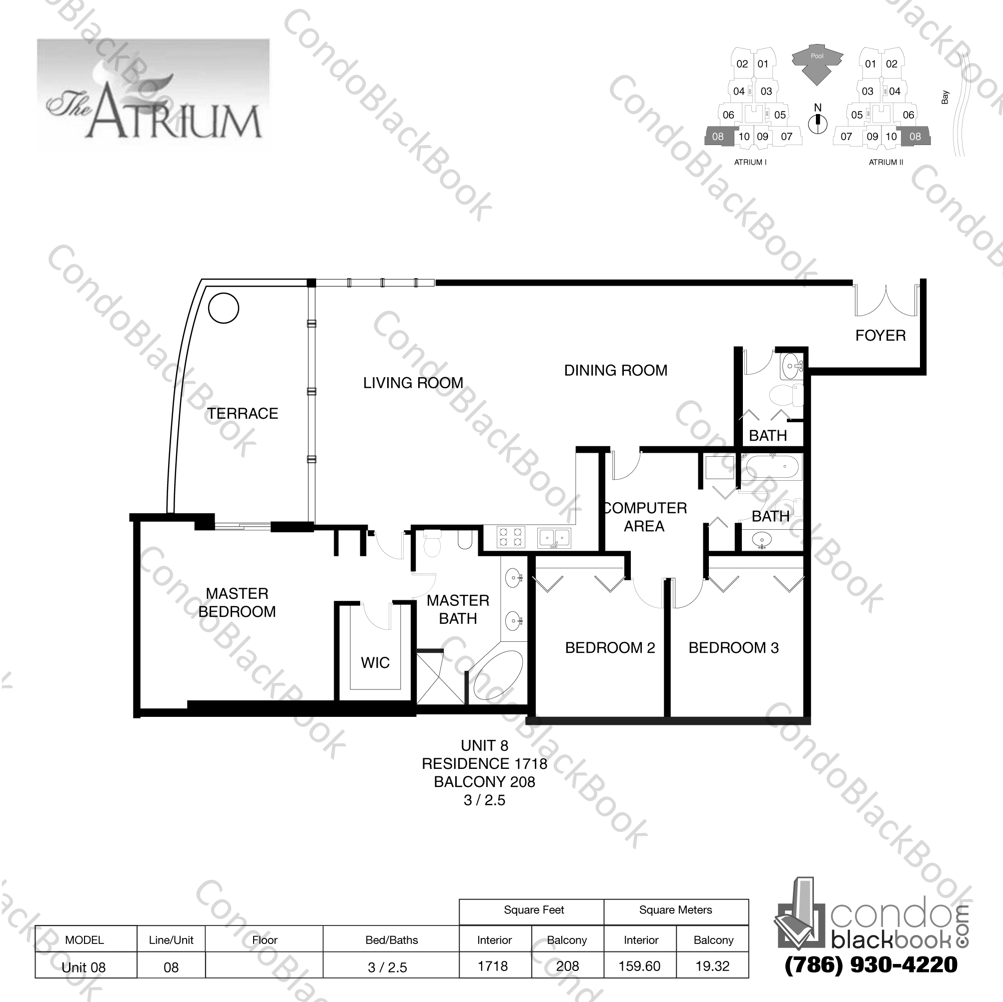 Floor plan for Atrium Aventura, model Unit 08, line 08, 3 / 2.5 bedrooms, 1718 sq ft