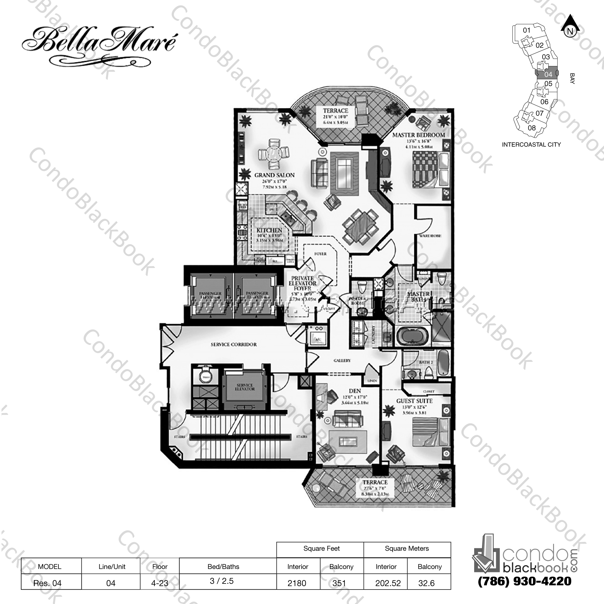 Floor plan for Bella Mare Aventura, model Residence 04, line 04, 3 / 2.5 bedrooms, 2180 sq ft
