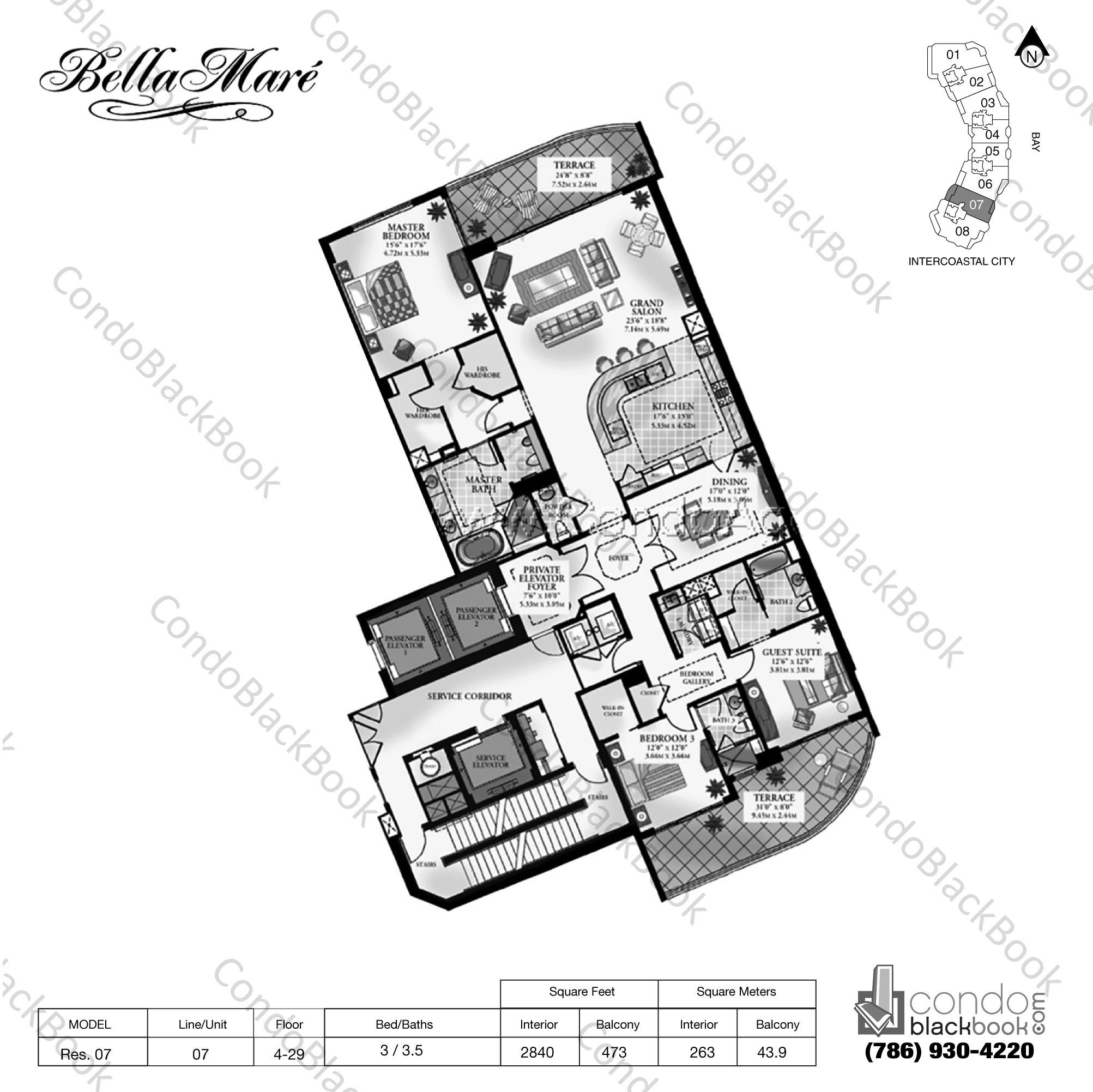Floor plan for Bella Mare Aventura, model Residence 07, line 07, 3 / 3.5 bedrooms, 2840 sq ft