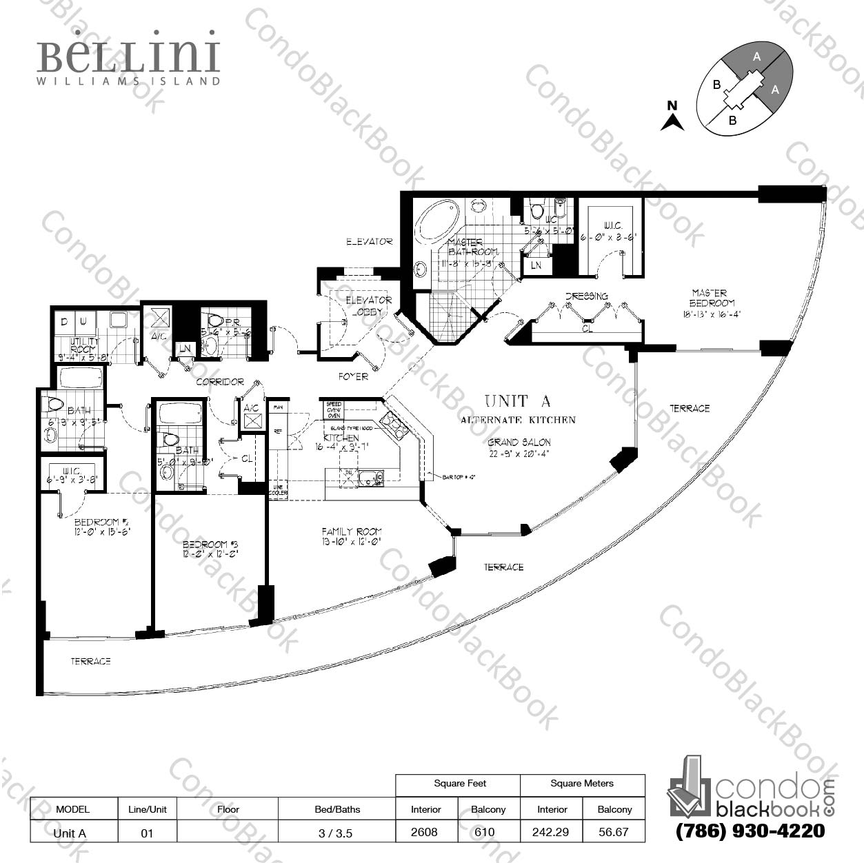 Floor plan for Bellini Williams Island  Aventura, model Unit A, line 01, 3 / 3.5 bedrooms, 2608 sq ft