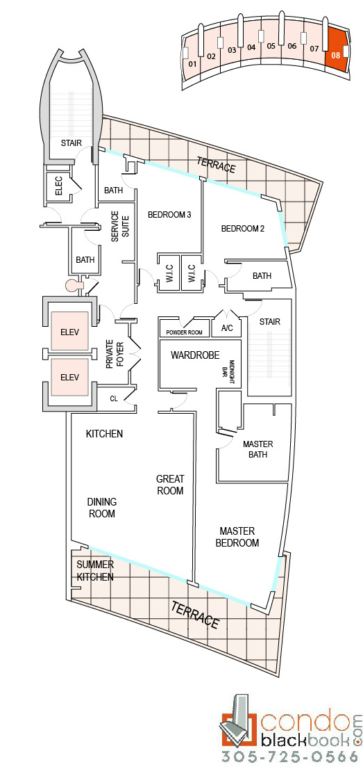 Floor plan for Echo Aventura Aventura, model A8, line 08, 3/4.5 bedrooms, 3,430 sq ft
