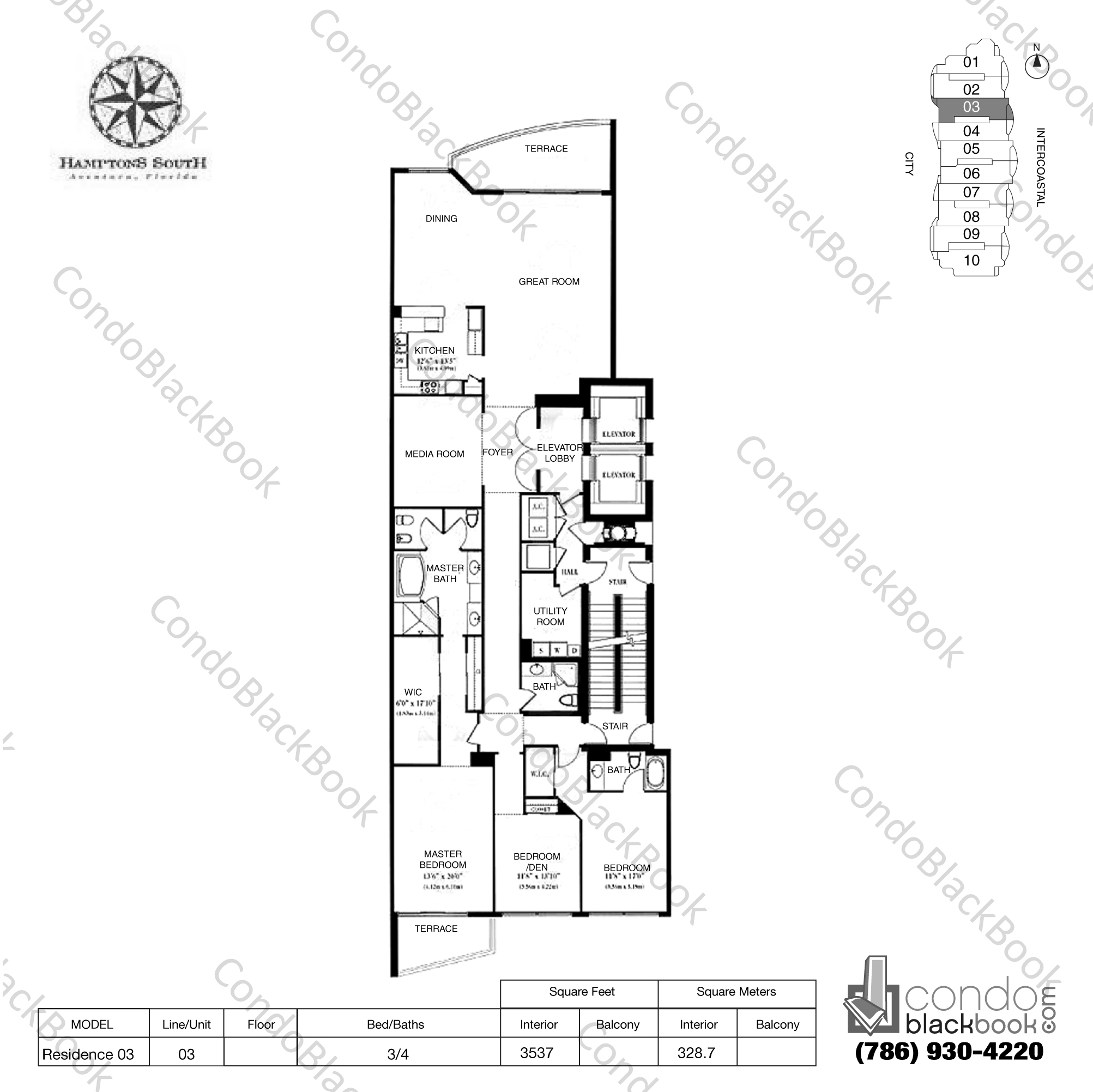 Floor plan for Hamptons South Aventura, model Residence 03, line 03, 3/4 bedrooms, 3537 sq ft