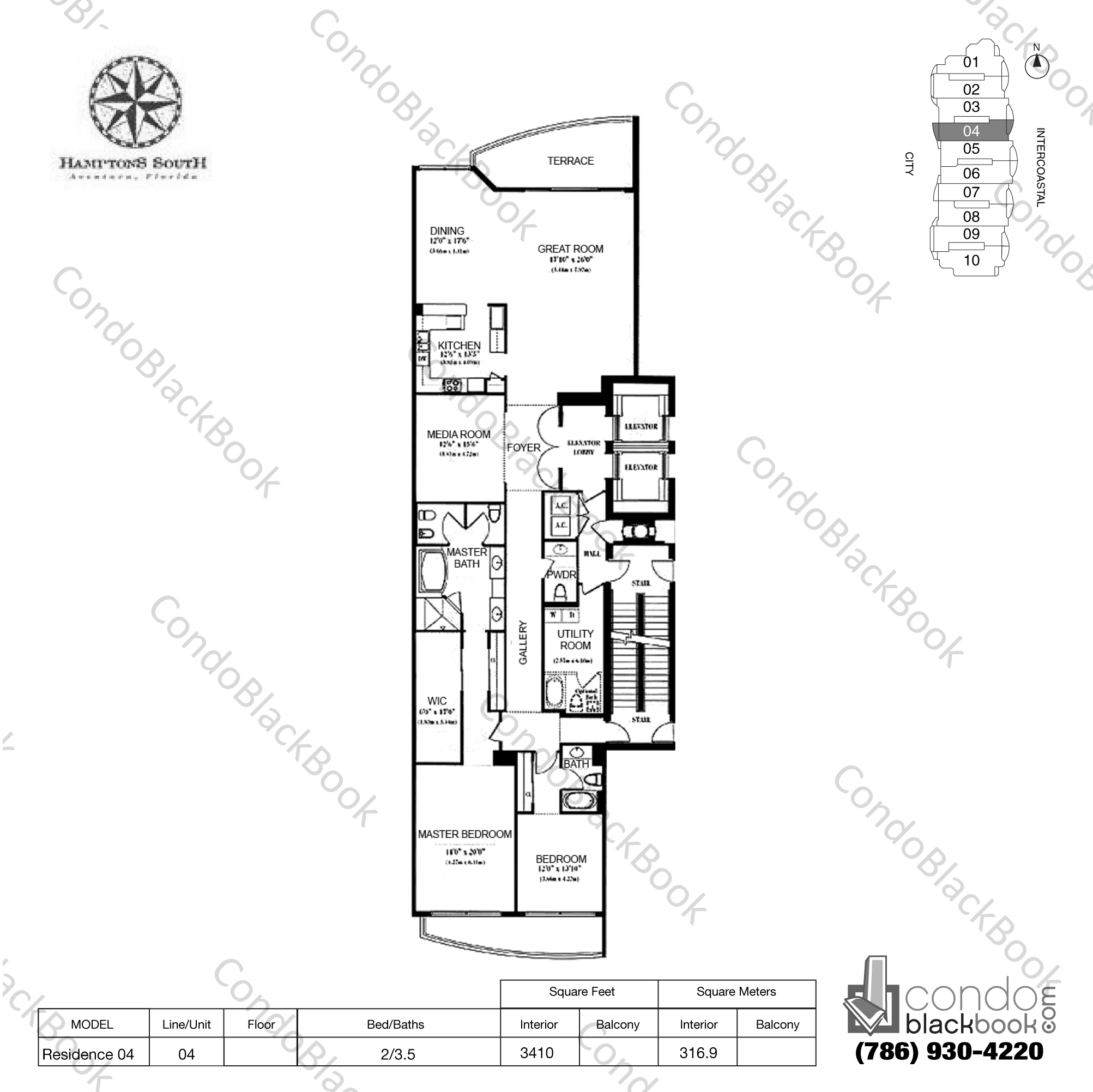 Floor plan for Hamptons South Aventura, model Residence 04, line 04, 2/3.5 bedrooms, 3410 sq ft