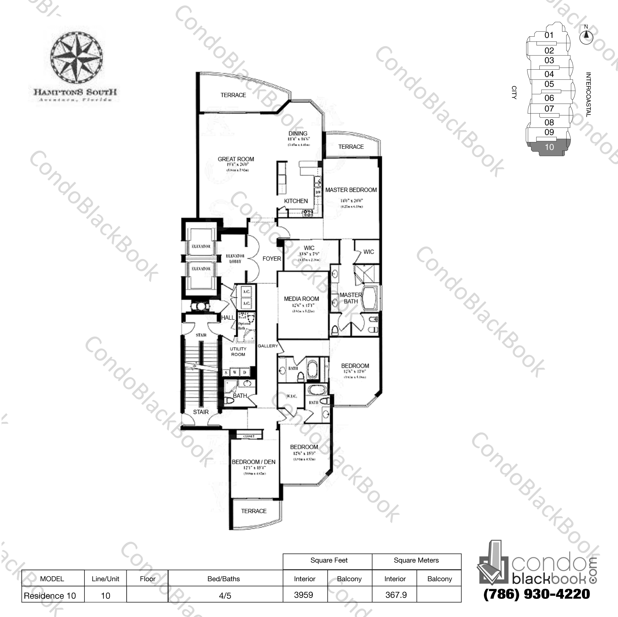 Floor plan for Hamptons South Aventura, model Residence 10, line 10, 4/5 bedrooms, 3959 sq ft