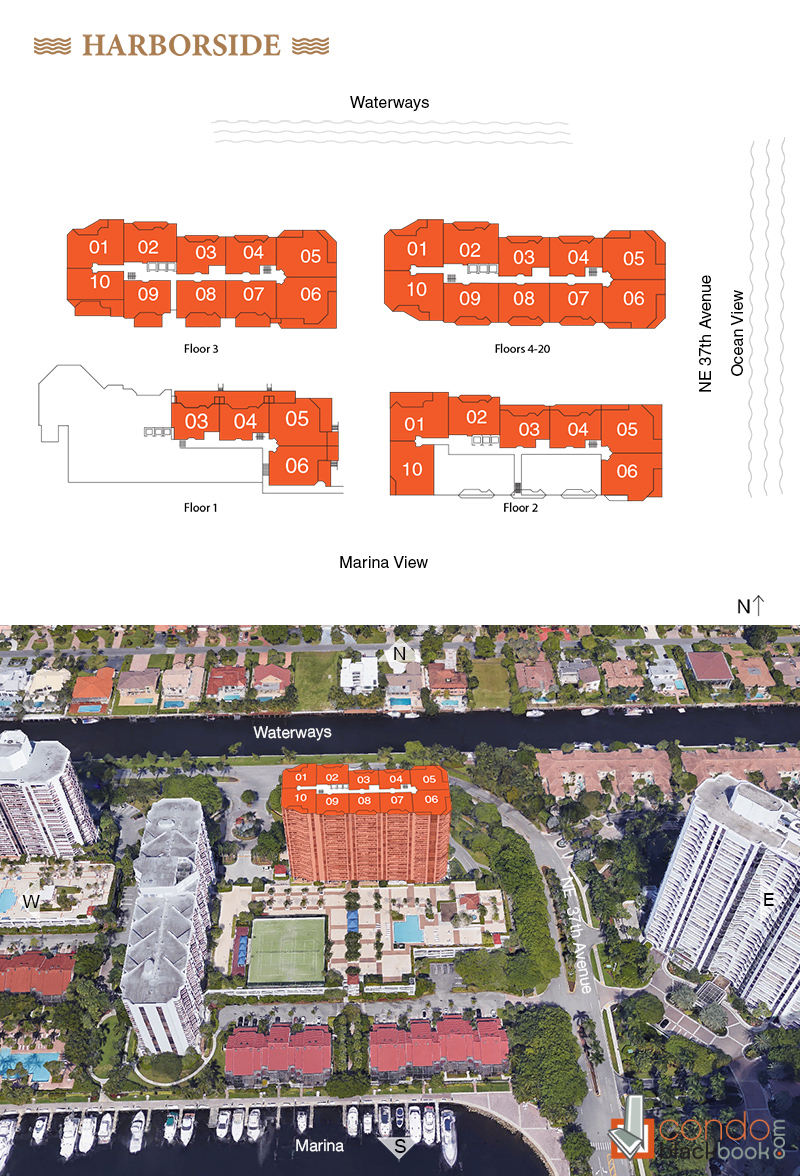 Harborside floorplan and site plan