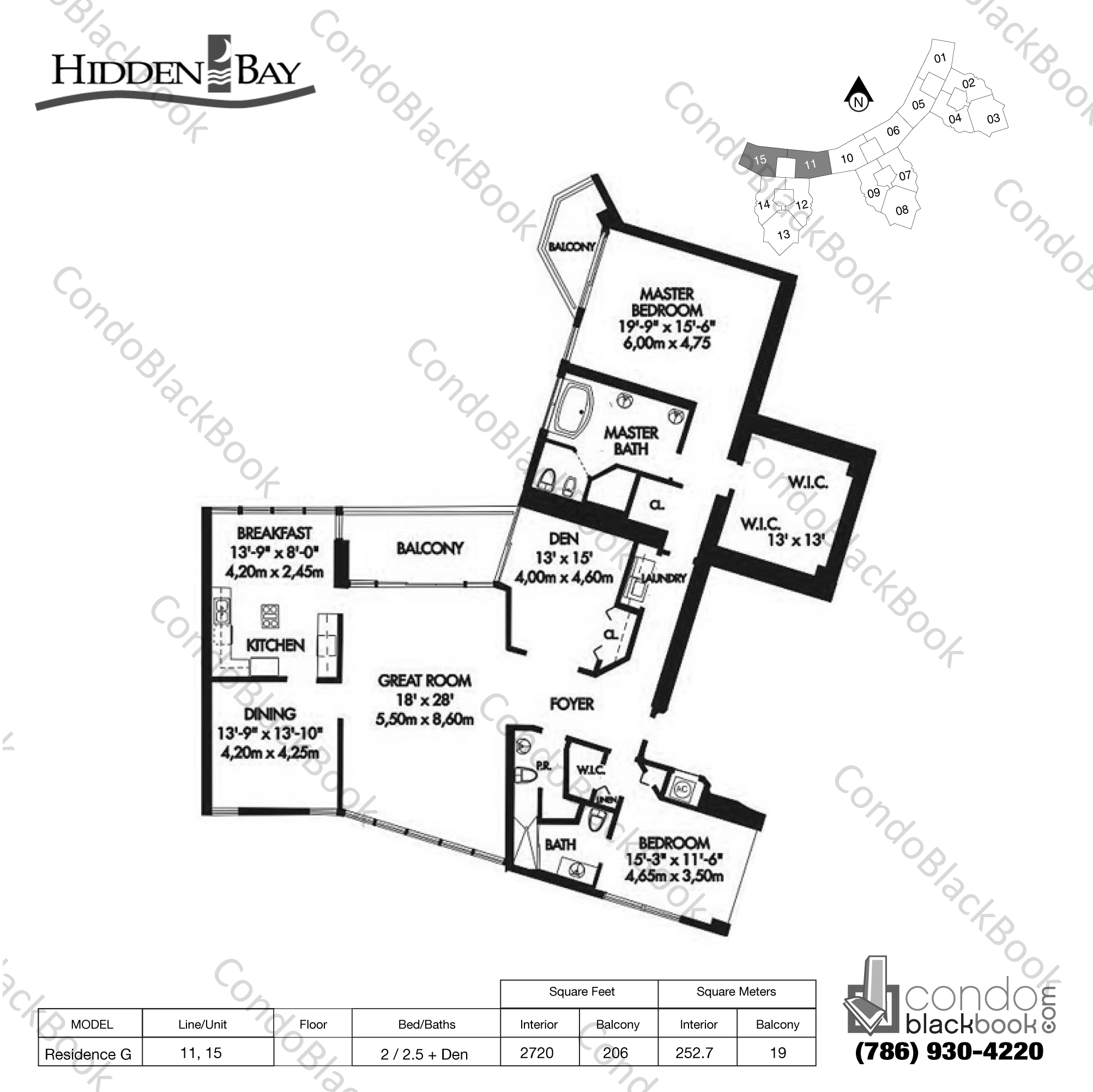 Floor plan for Hidden Bay Aventura, model Residence G, line 11, 15, 2 / 2.5 + Den bedrooms, 2720 sq ft