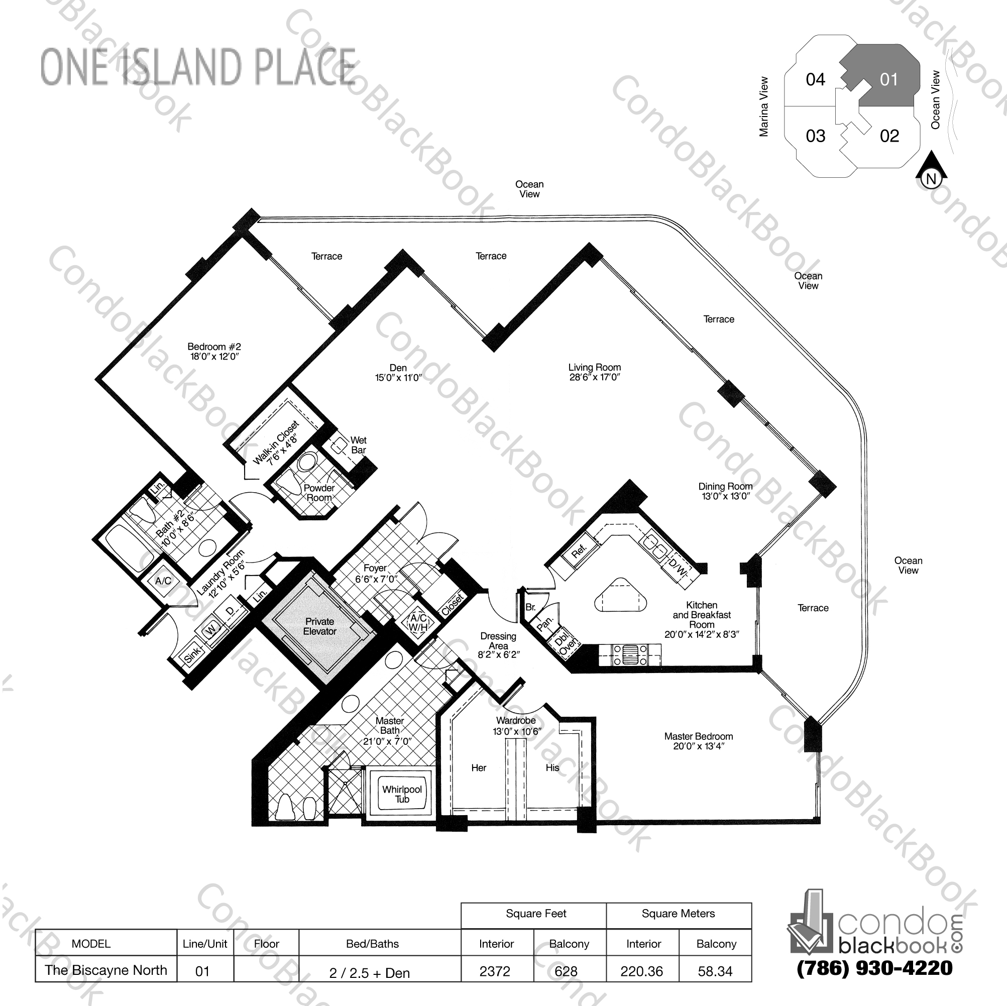 Floor plan for One Island Place Aventura, model The Biscayne North, line 01, 2 / 2.5 + Den bedrooms, 2372 sq ft
