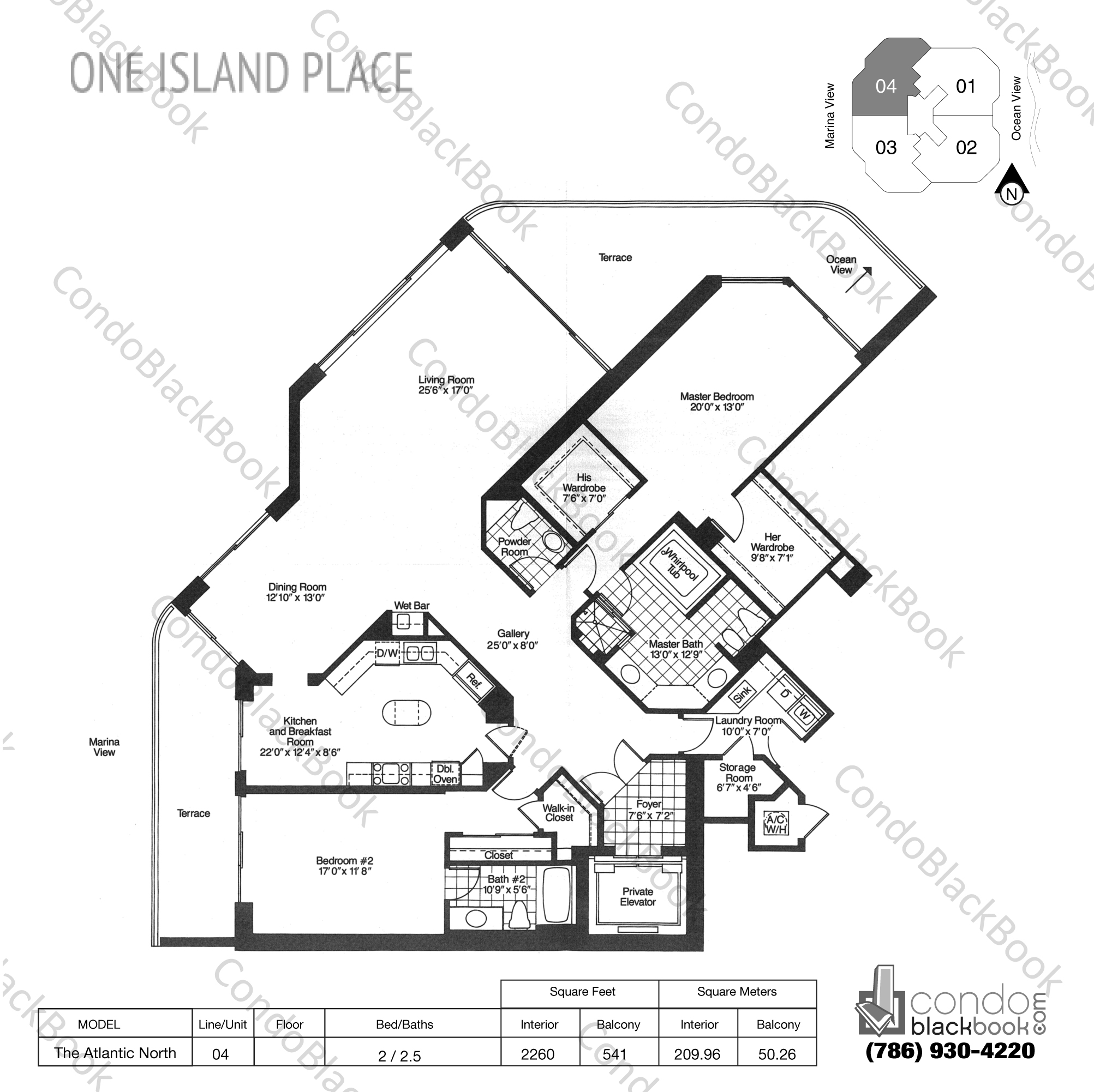 Floor plan for One Island Place Aventura, model The Atlantic North, line 04, 2 / 2.5 bedrooms, 2260 sq ft