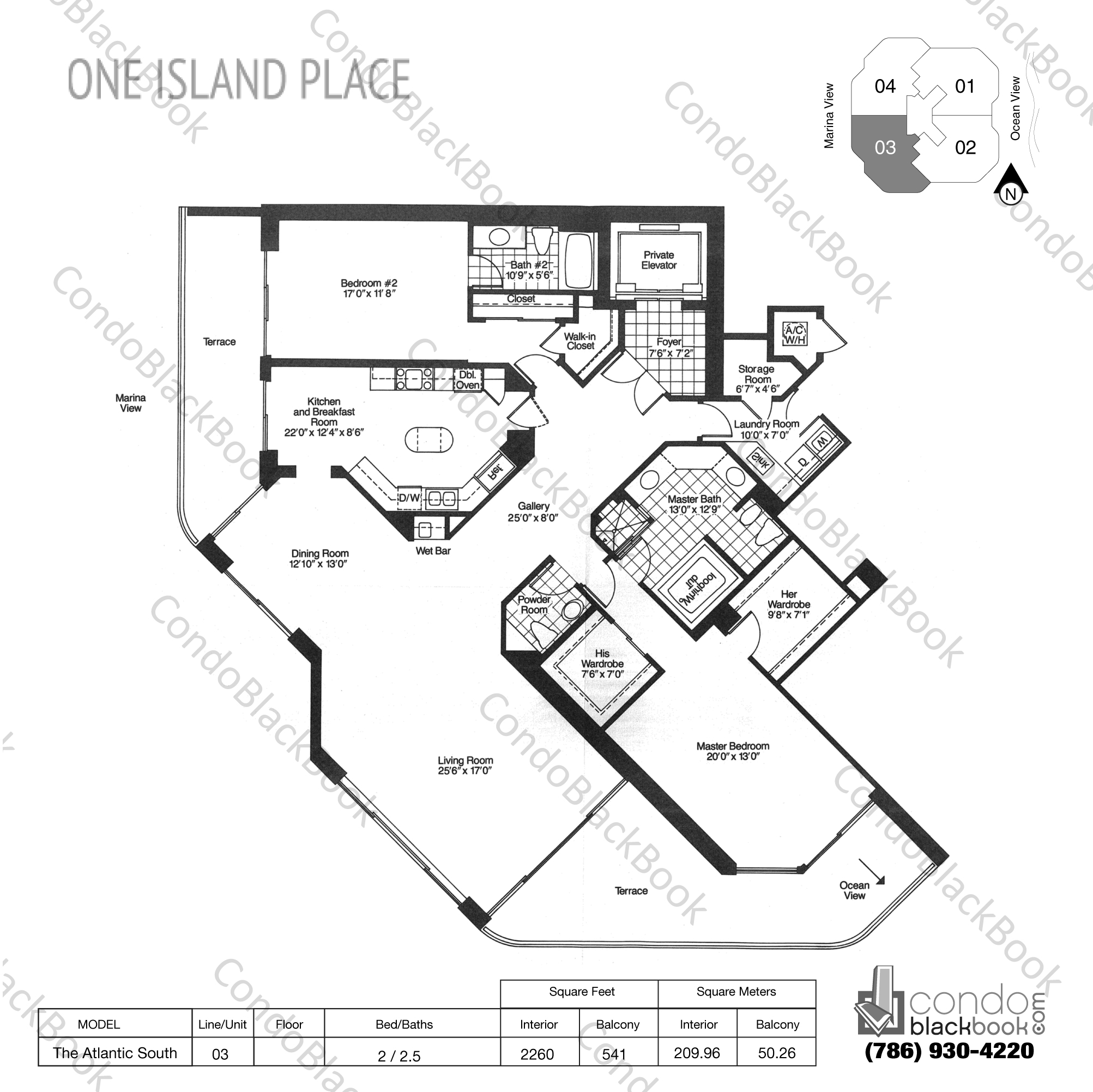 Floor plan for One Island Place Aventura, model The Atlantic South, line 03, 2 / 2.5 bedrooms, 2260 sq ft