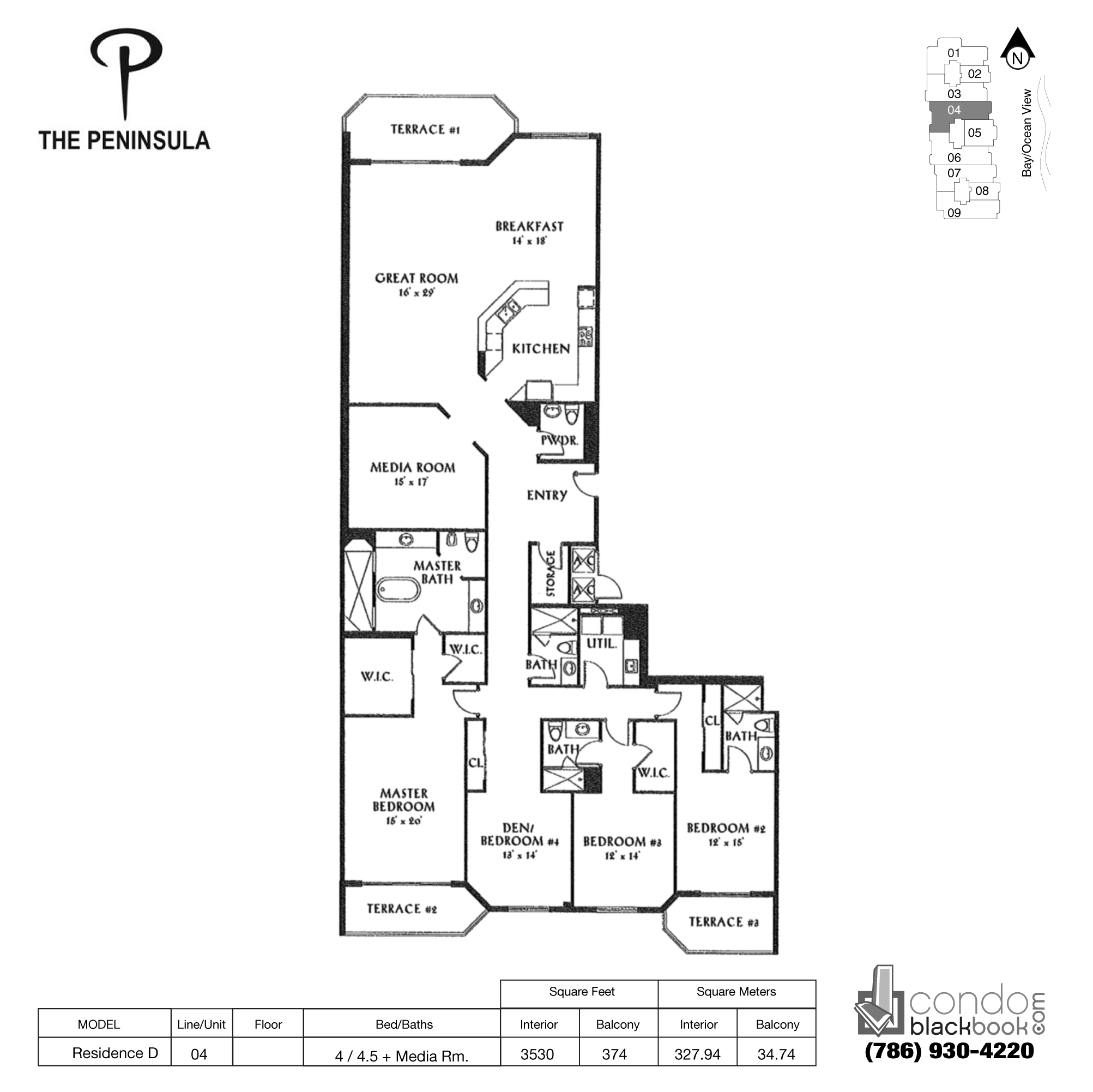 Floor plan for Peninsula II Aventura, model Res. D, line 04, 4 / 4.5 + Media Rooms bedrooms, 3530 sq ft