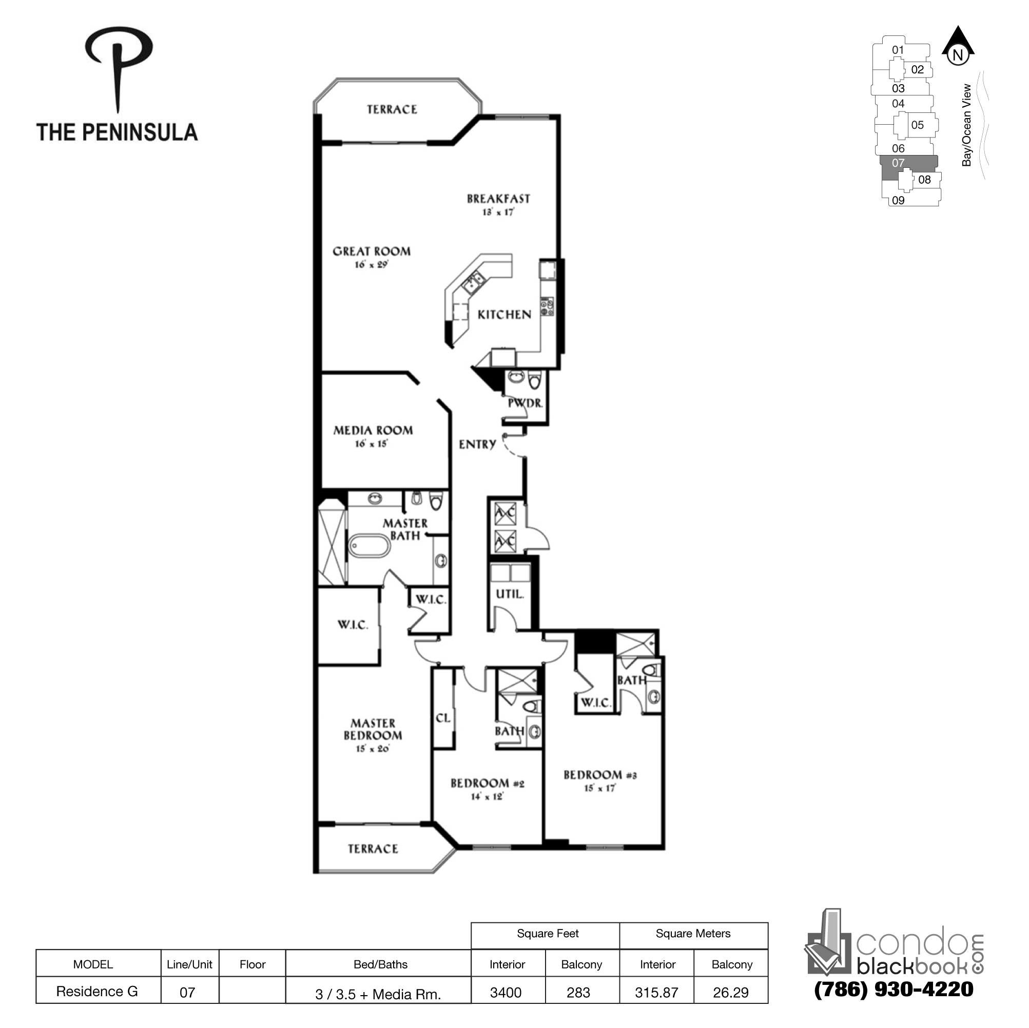 Floor plan for Peninsula II Aventura, model Res. G, line 07, 3 / 3.5 + Media Rooms bedrooms, 3400 sq ft
