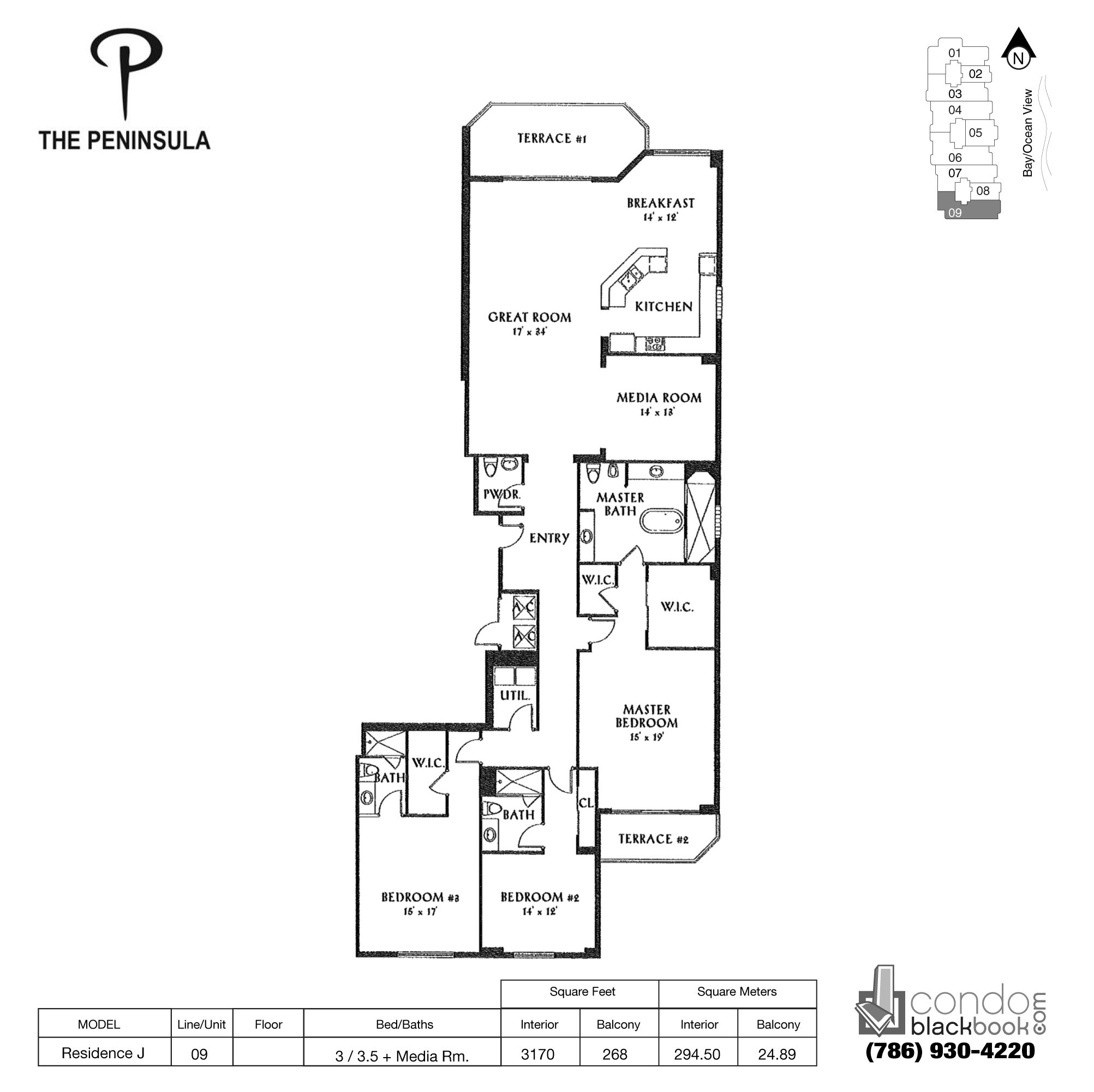 Floor plan for Peninsula II Aventura, model Res. J, line 09, 3 / 3.5 + Media Rooms bedrooms, 3170 sq ft