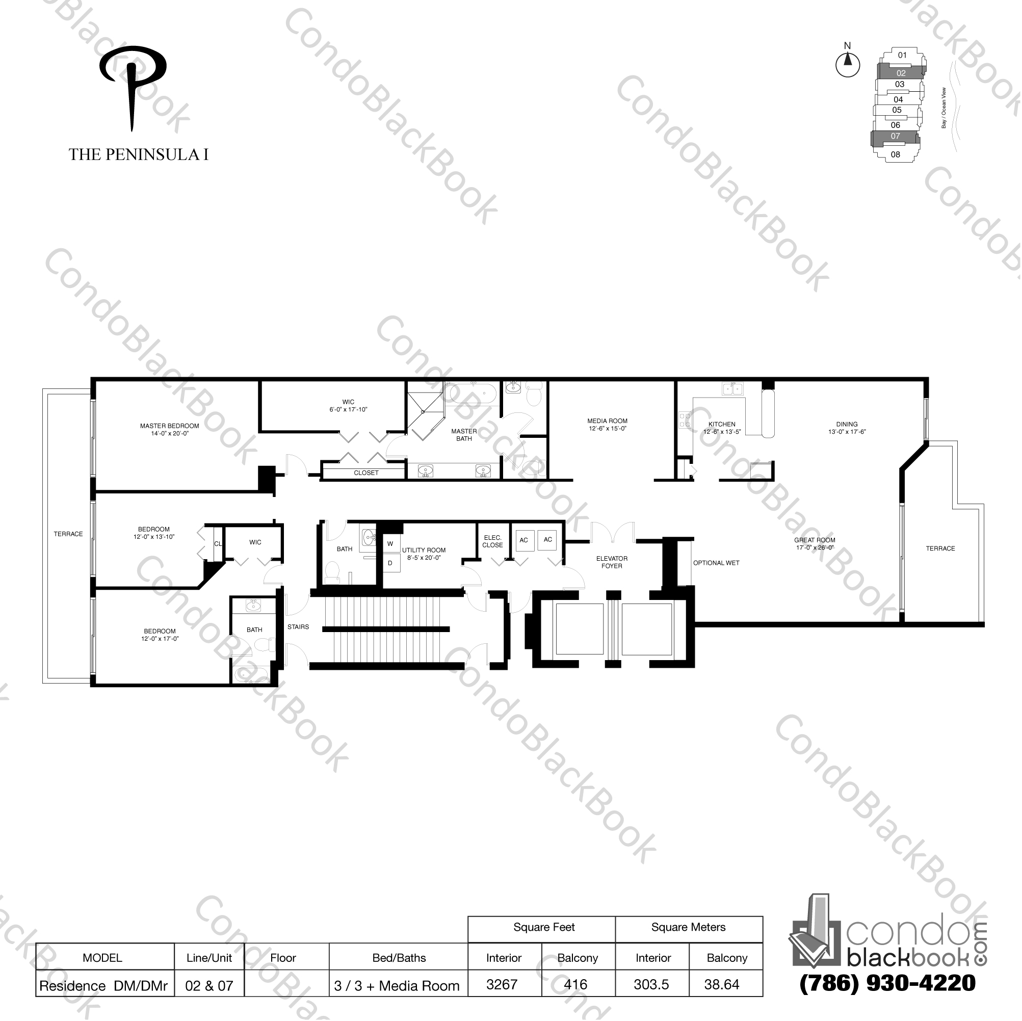 Floor plan for Peninsula Aventura, model Pesidence DM/DMR, line 02, 07, 3 / 3 + Media Room bedrooms, 3267 sq ft