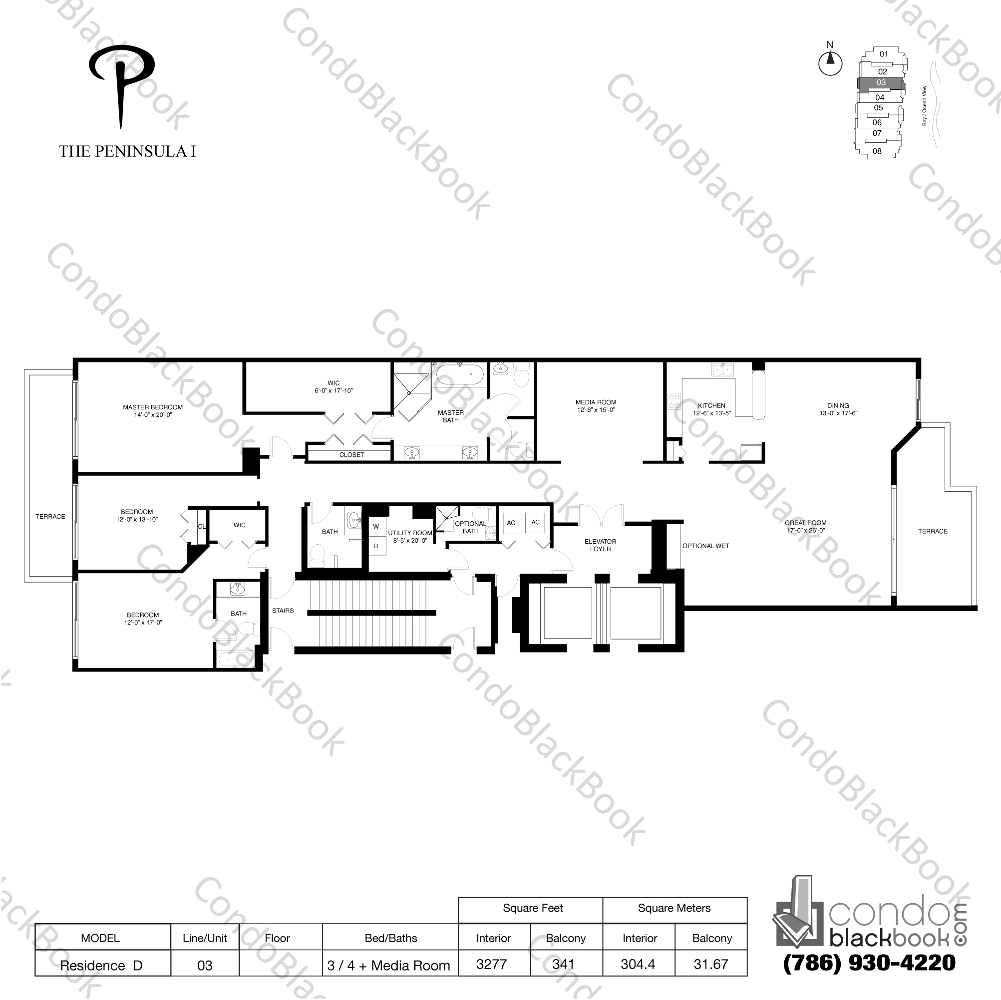Floor plan for Peninsula Aventura, model Residence D, line 03, 3 / 4 + Media room bedrooms, 3277 sq ft