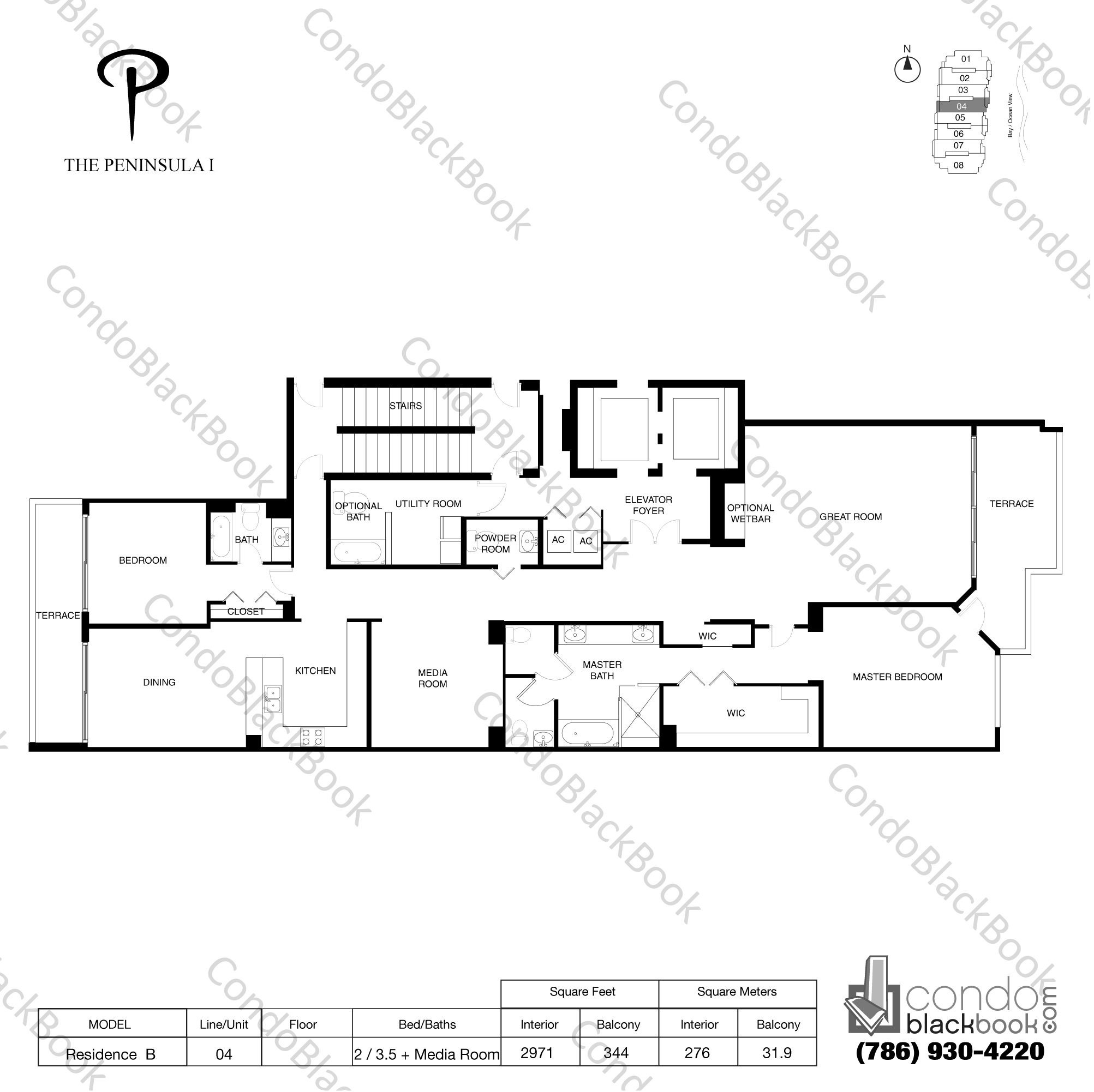 Floor plan for Peninsula Aventura, model Residence B, line 04, 2 / 3.5 + Media room bedrooms, 2971 sq ft
