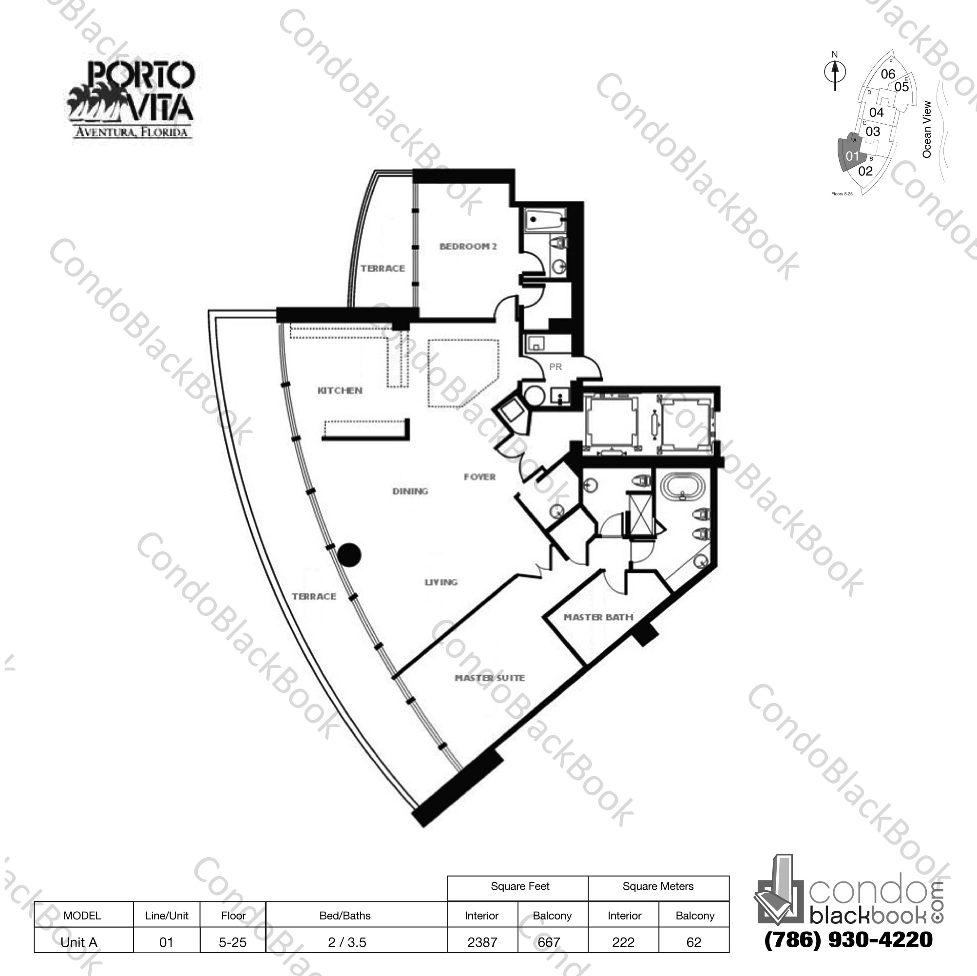 Floor plan for Porto Vita South Tower Aventura, model Unit A, line 01, 2 / 3.5 bedrooms, 2387 sq ft