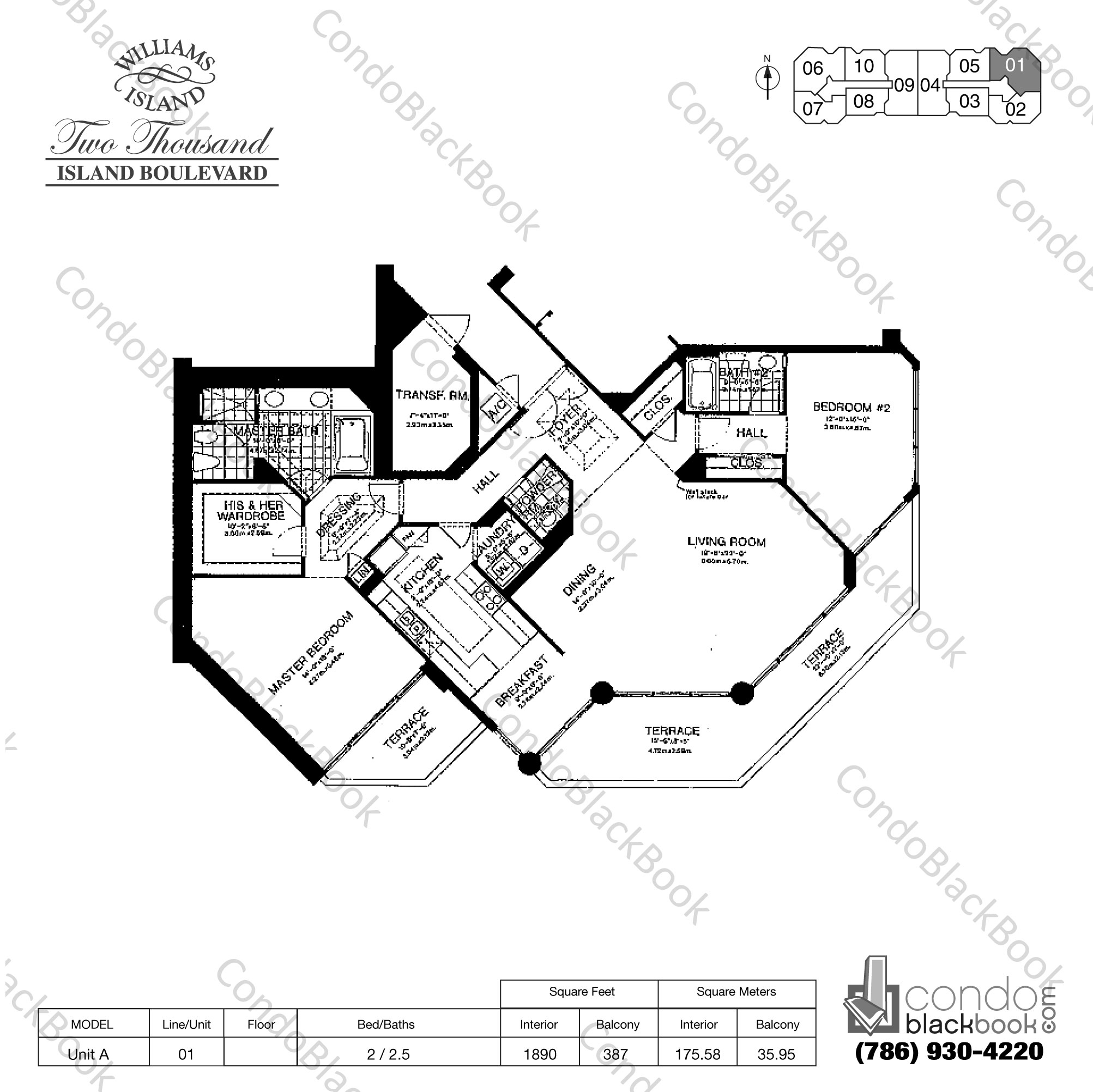 Floor plan for Williams Island 2000 Aventura, model Unit A, line 01, 2 / 2.5 bedrooms, 1890 sq ft