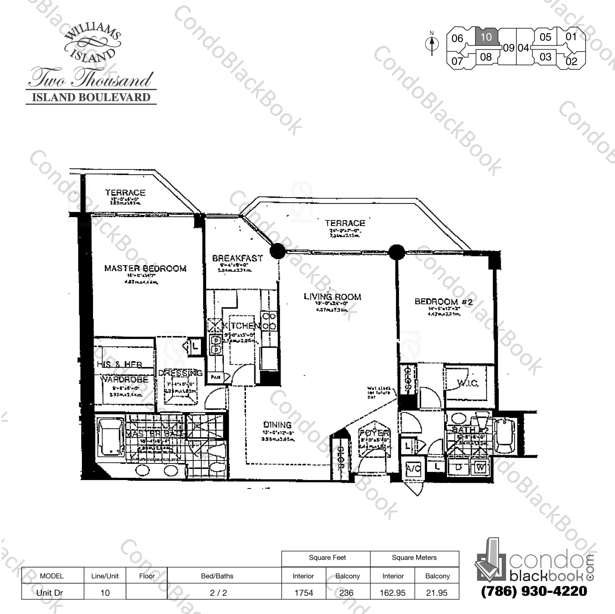 Floor plan for Williams Island 2000 Aventura, model Unit Dr, line 10, 2 / 2 bedrooms, 1754 sq ft