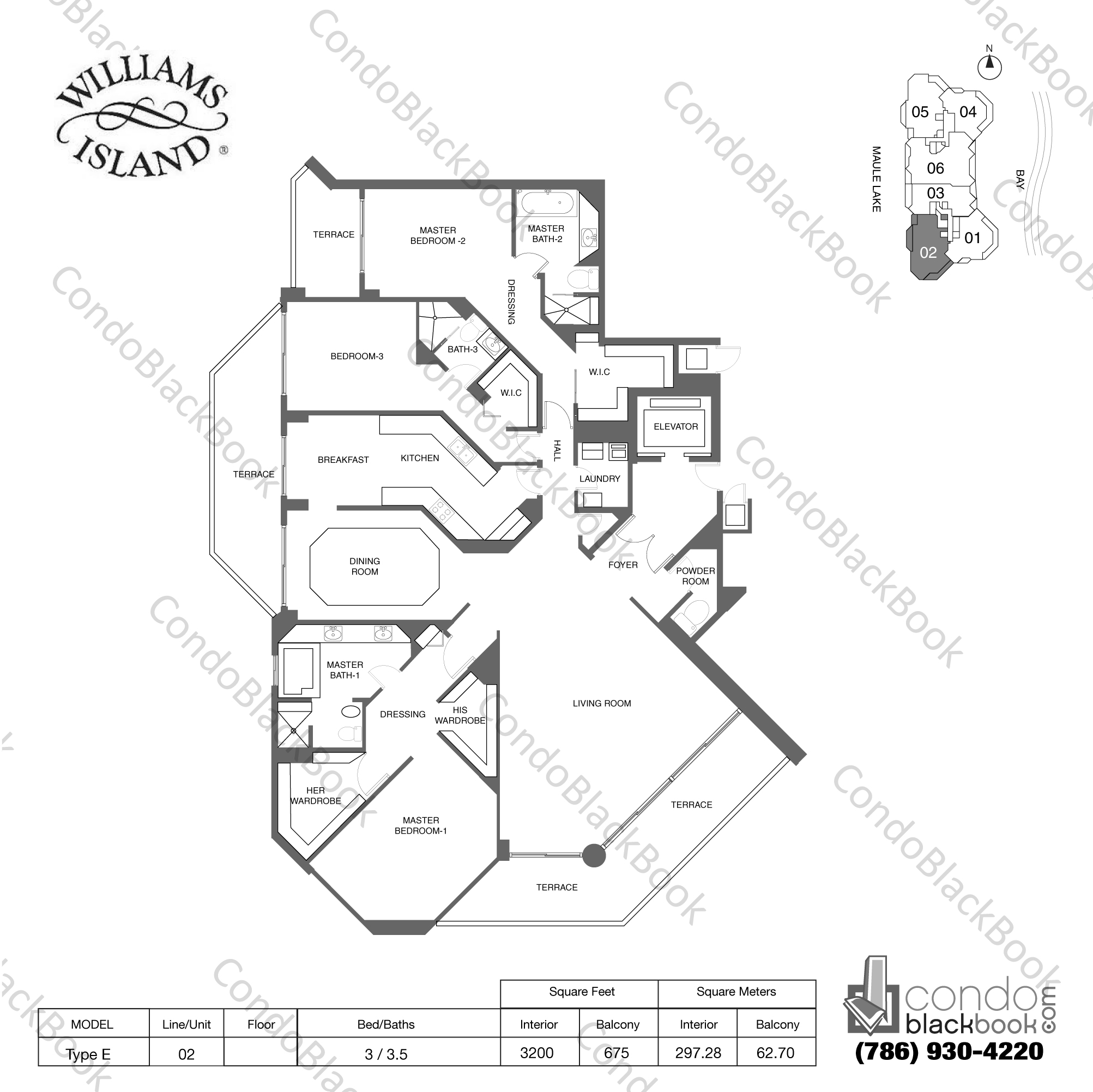 Floor plan for Williams Island 2600 Aventura, model Type E, line 02, 3 / 3.5 bedrooms, 3200 sq ft