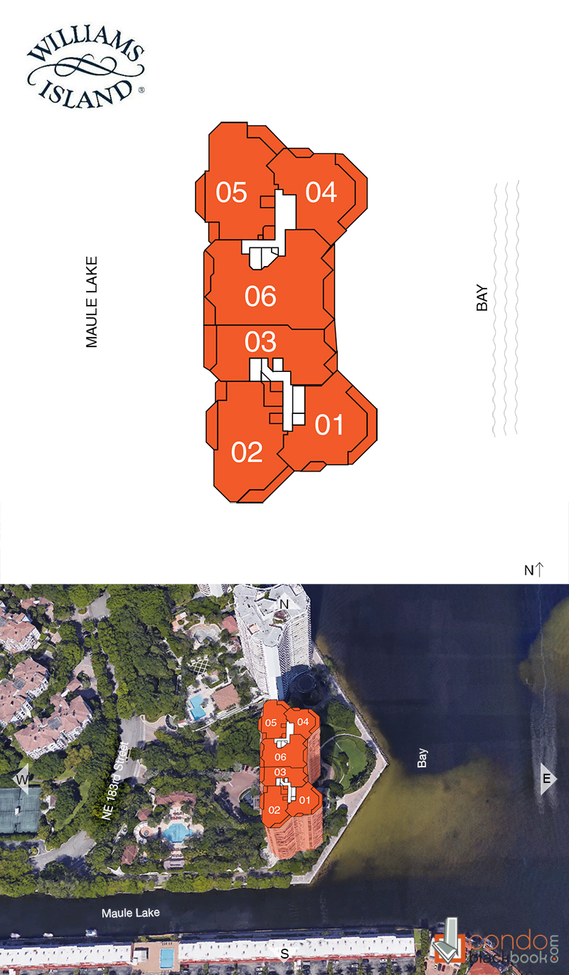 Williams Island 2600 floorplan and site plan