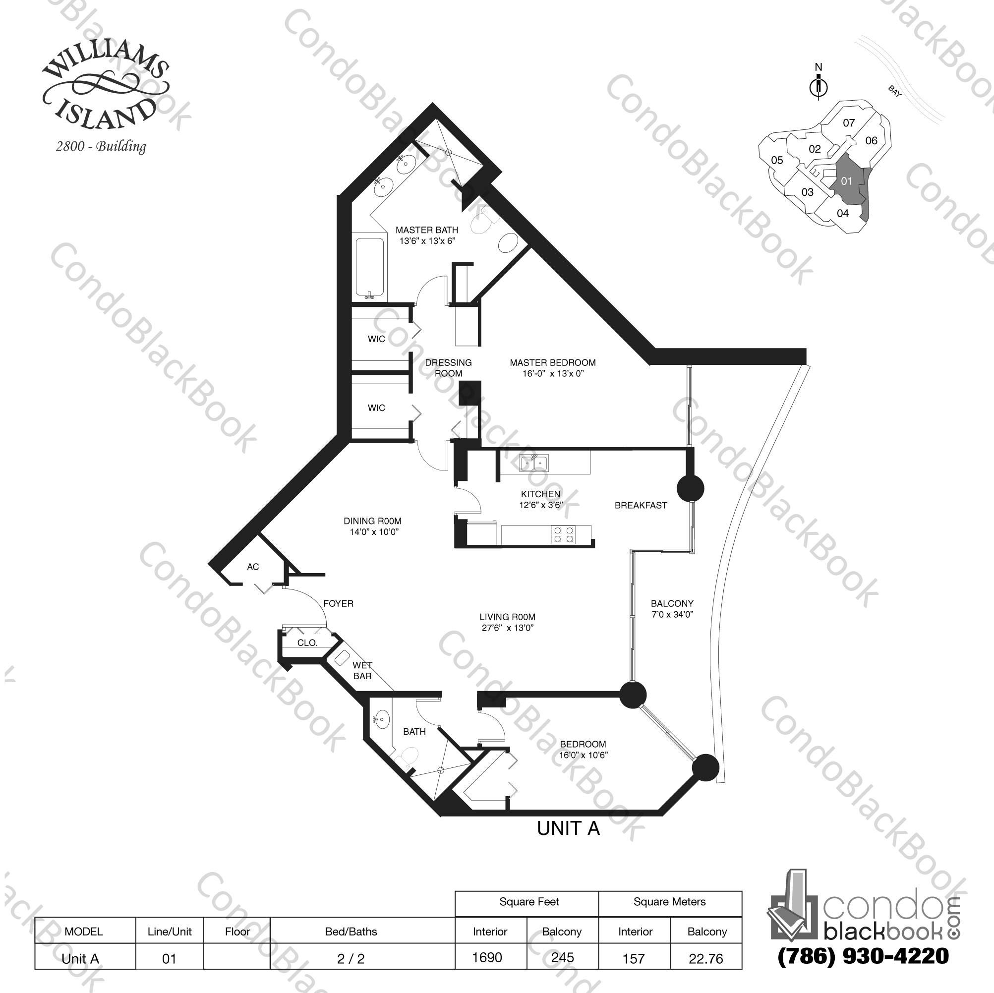 Floor plan for Williams Island 2800 Aventura, model Unit A, line 01, 2 / 2 bedrooms, 1690 sq ft