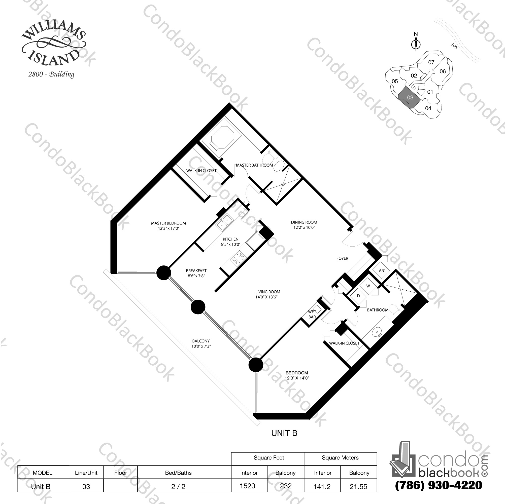 Floor plan for Williams Island 2800 Aventura, model Unit B, line 03, 2 / 2 bedrooms, 1520 sq ft