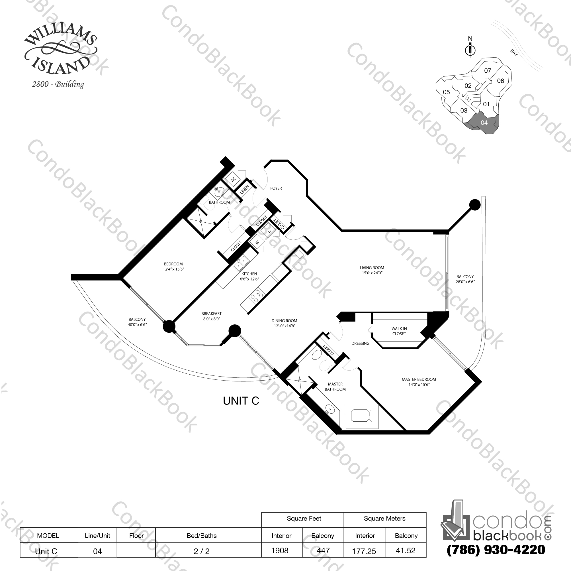 Floor plan for Williams Island 2800 Aventura, model Unit C, line 04, 2 / 2 bedrooms, 1908 sq ft