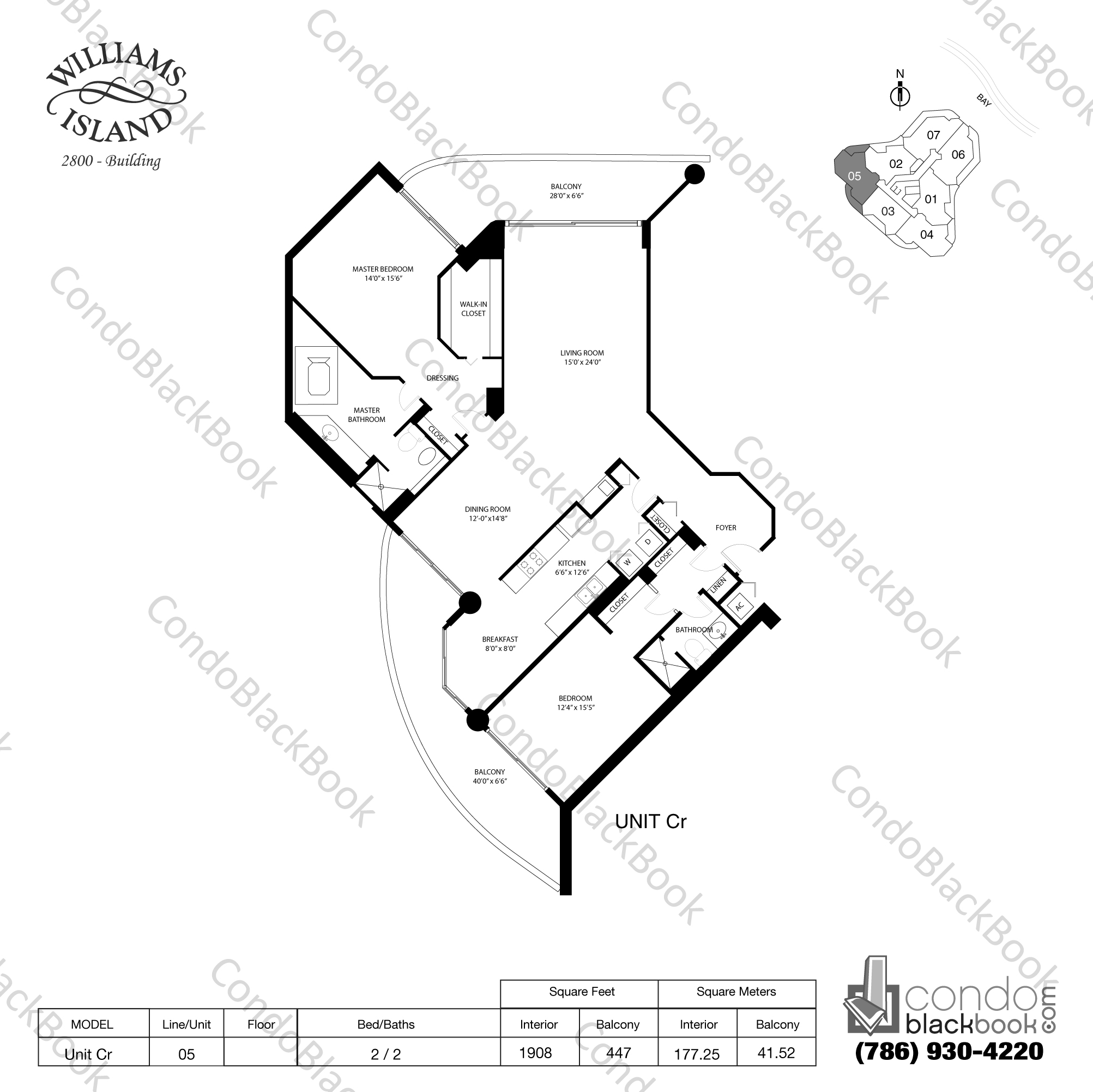 Floor plan for Williams Island 2800 Aventura, model Unit Cr, line 05, 2 / 2 bedrooms, 1908 sq ft