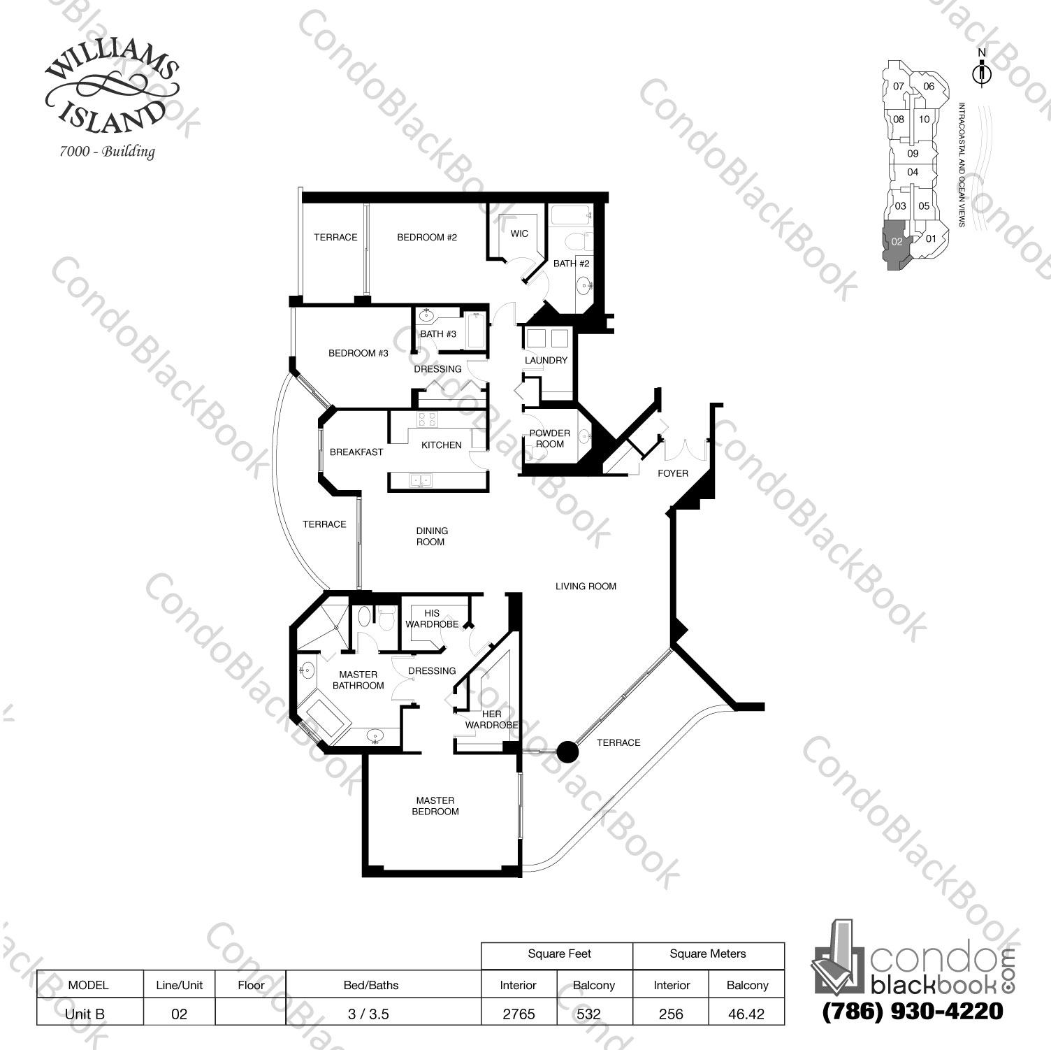 Floor plan for Williams Island 7000 Aventura, model Unit B, line 02, 3 / 3.5 bedrooms, 2765 sq ft