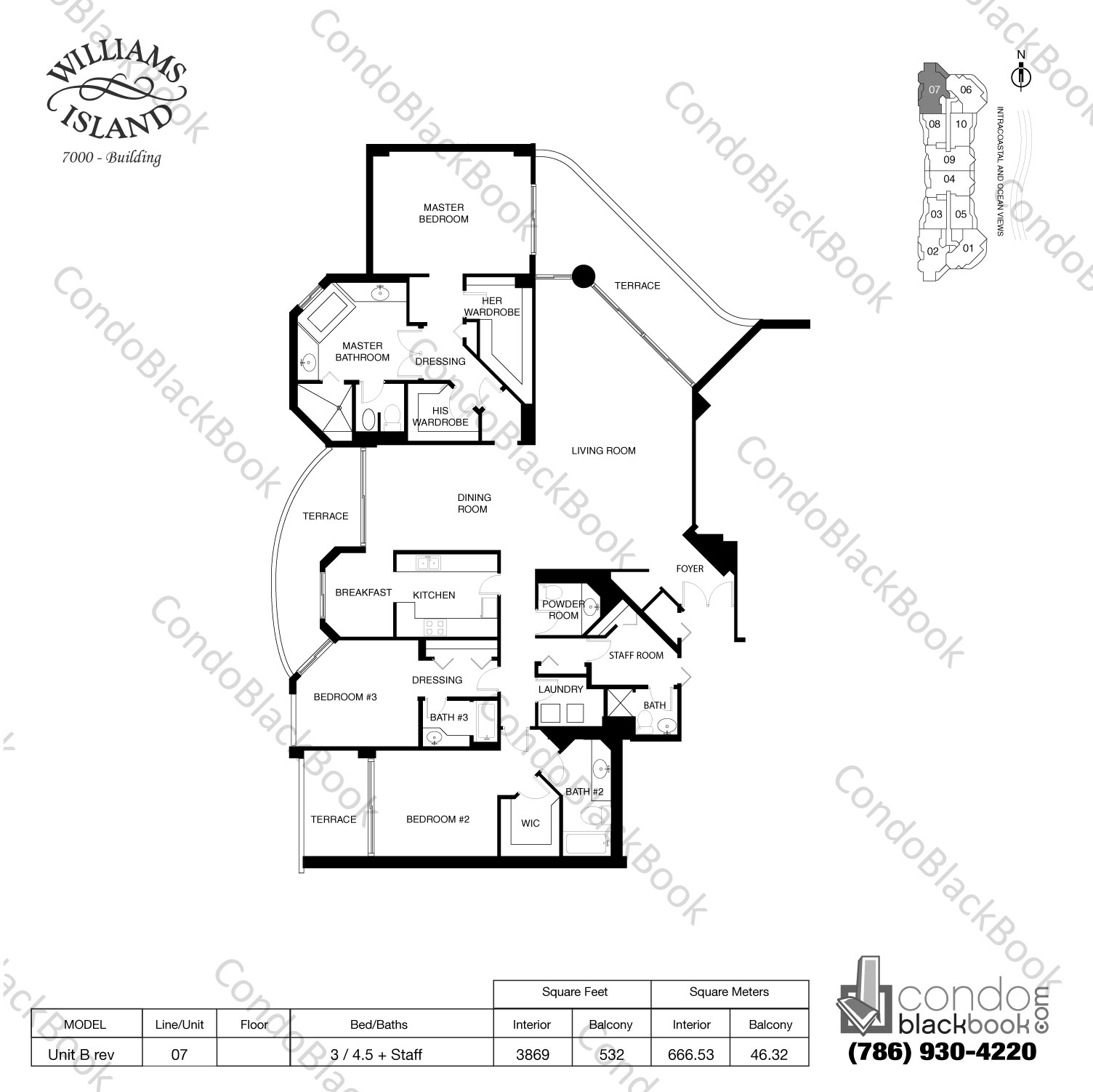 Floor plan for Williams Island 7000 Aventura, model Unit B rev, line 07, 3 / 4.5 bedrooms, 3869 sq ft