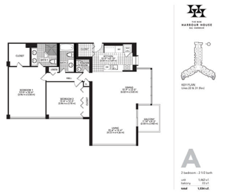 Floor plan for Harbour House Bal Harbour, model A, line Lines 22,31, 2/2/1 bedrooms, 1462 sq ft