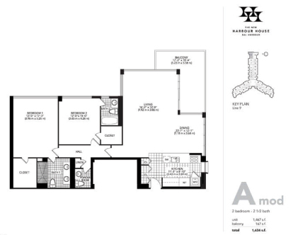 Floor plan for Harbour House Bal Harbour, model A_Mod, line Lines 09, 2/2/1 bedrooms, 1467 sq ft