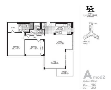 Floor plan for Harbour House Bal Harbour, model A_Mod2, line Lines 10, 2/2/1 bedrooms, 1508 sq ft