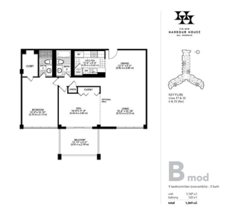 Floor plan for Harbour House Bal Harbour, model B_Mod, line Lines 06,17,23,30, 2/2/0 bedrooms, 1147 sq ft