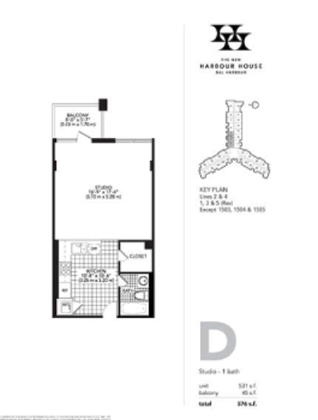 Floor plan for Harbour House Bal Harbour, model D, line Lines 01,02,03,04,05, 0/1 bedrooms, 531 sq ft