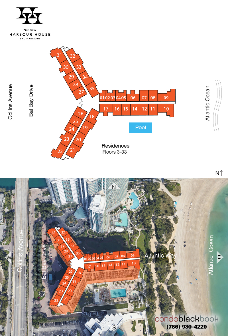 Harbour House floorplan and site plan